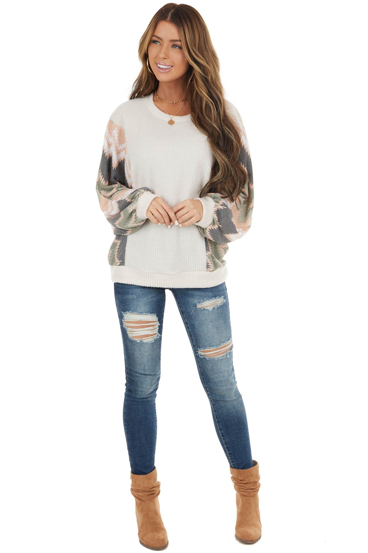 Oatmeal Waffle Knit Top with Contrast Print Dolman Sleeves