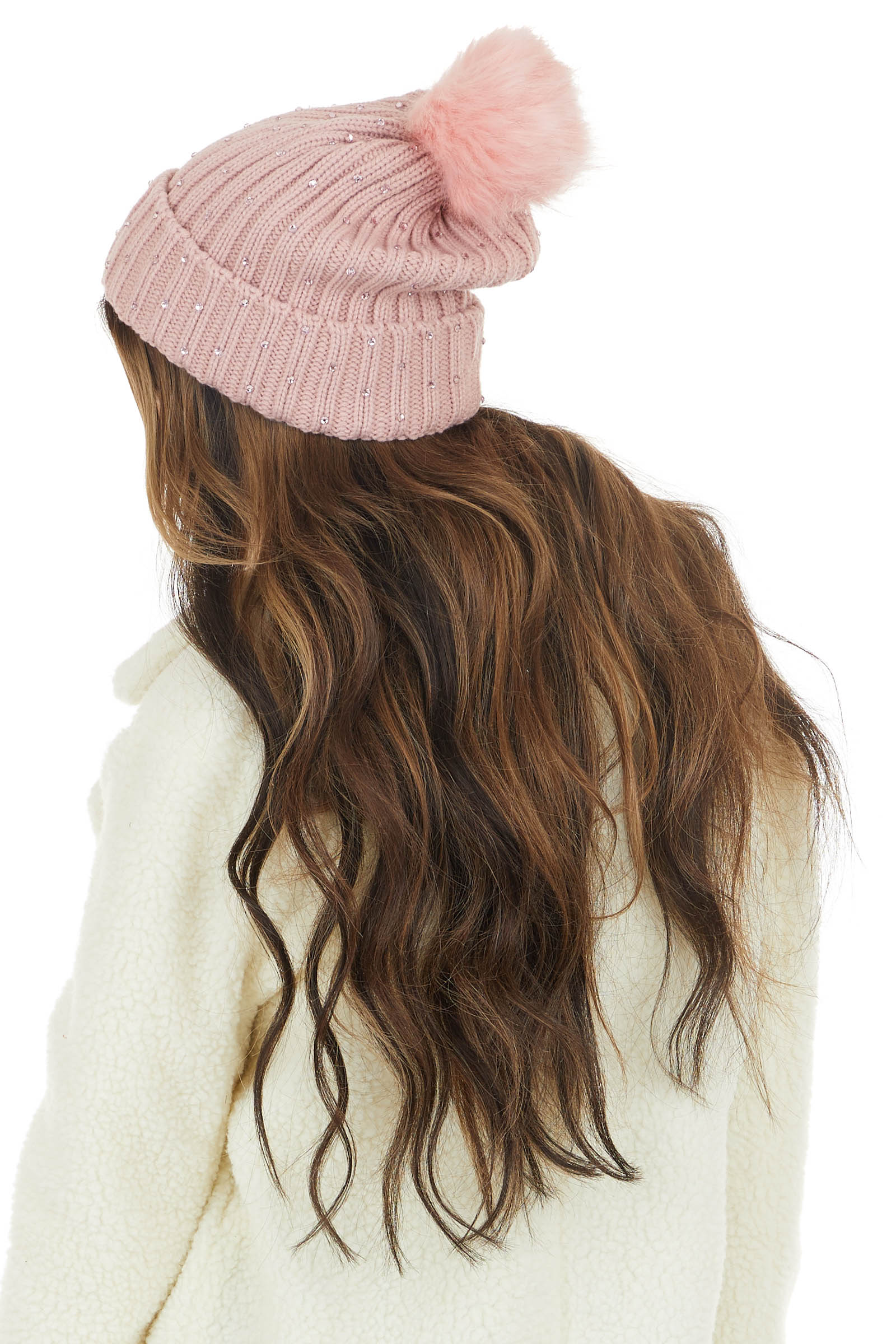 Dusty Rose Rhinestoned Ribbed Knit Beanie with Pom Pom