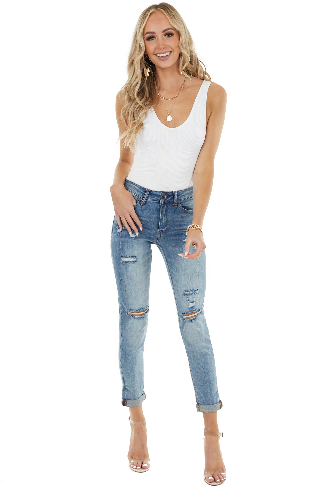 Medium Wash Relax Distressed Mid Rise Skinny Jeans