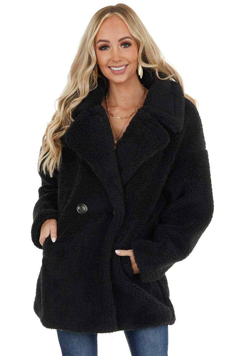 Black Faux Fur Jacket with Button Detail and Pockets