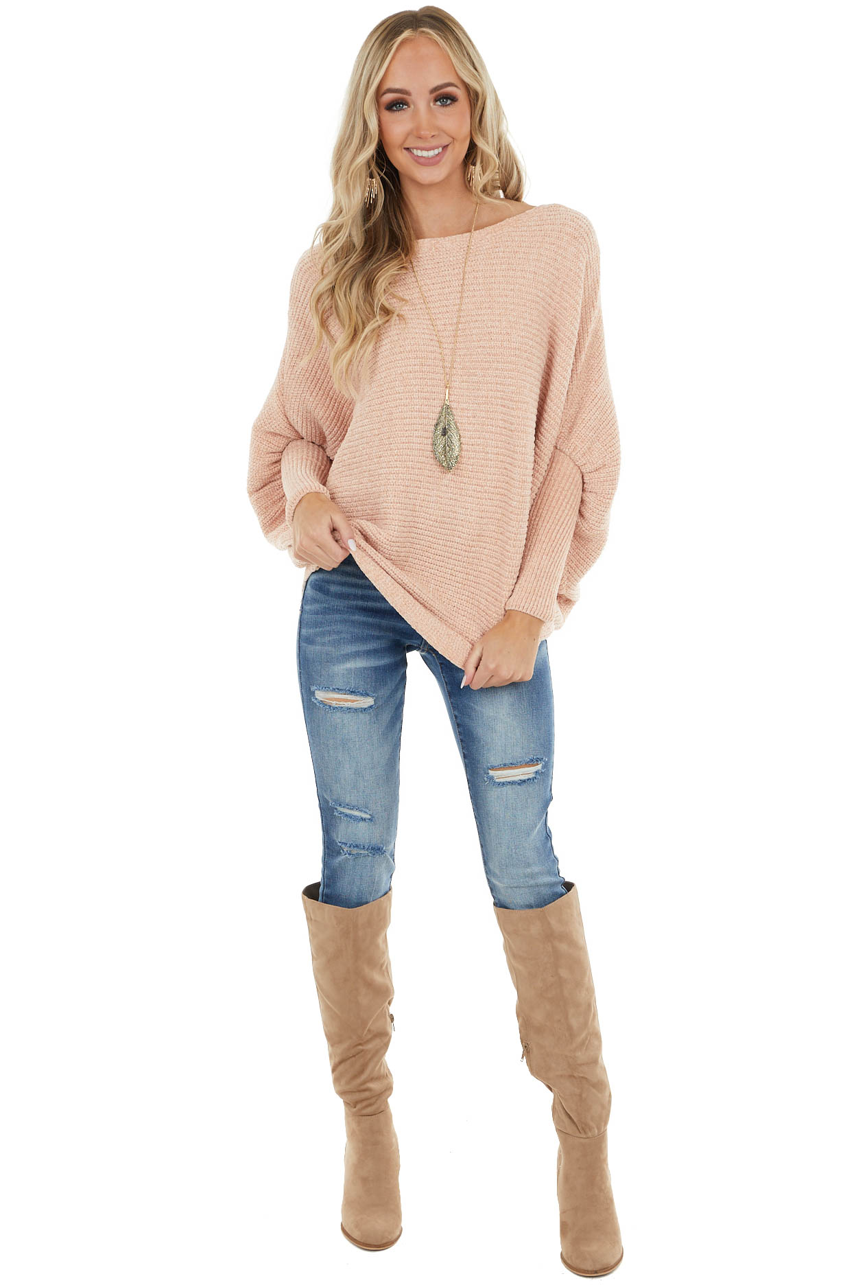 Peach Super Soft Chenille Knit Long Dolman Sleeve Sweater