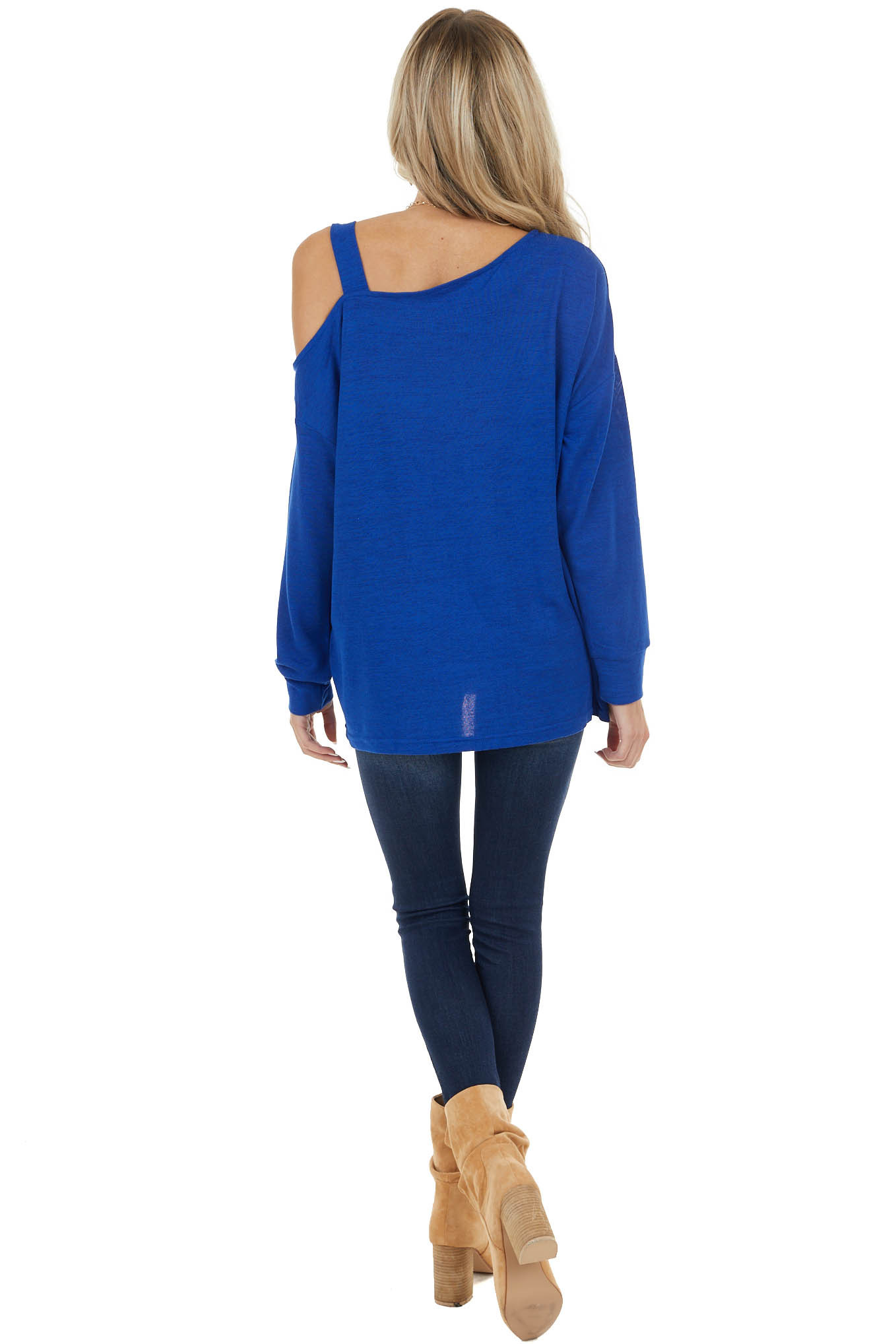 Royal Blue Long Sleeve Knit Top with Cold Shoulder Detail