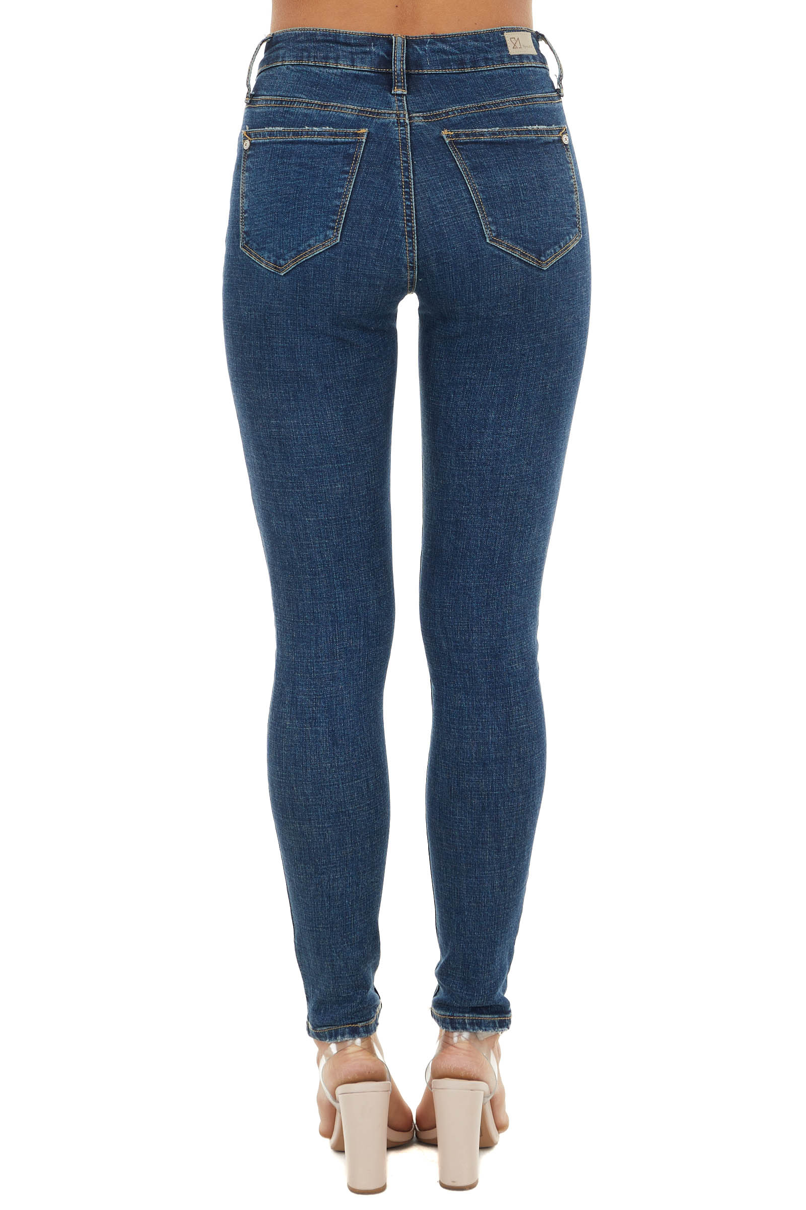 Dark Vintage Wash High Rise Distressed Skinny Jeans
