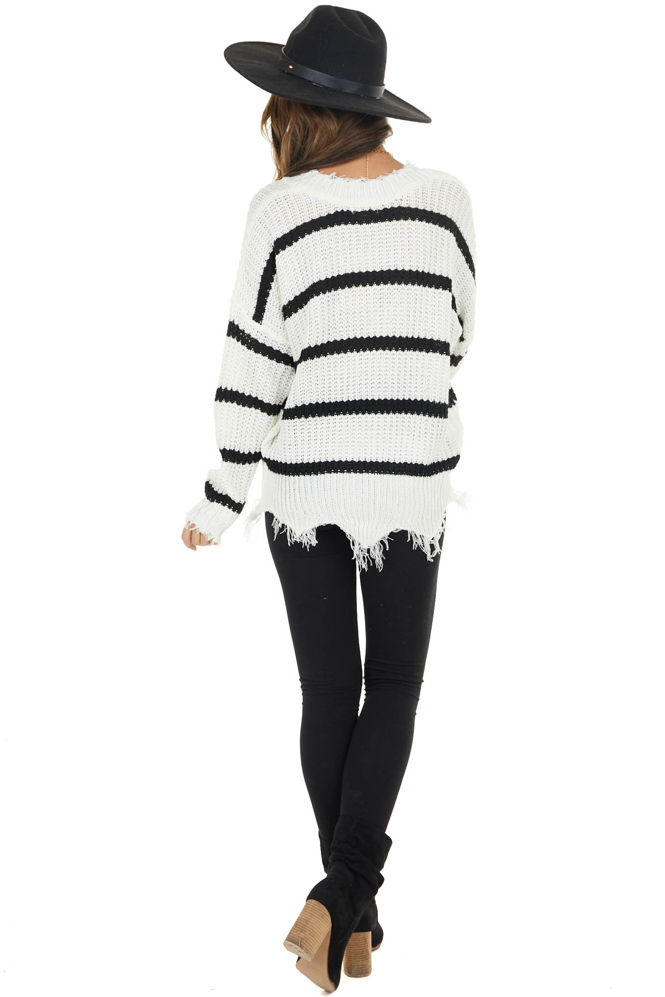 Black and White Striped Loose Knit Lightweight Sweater