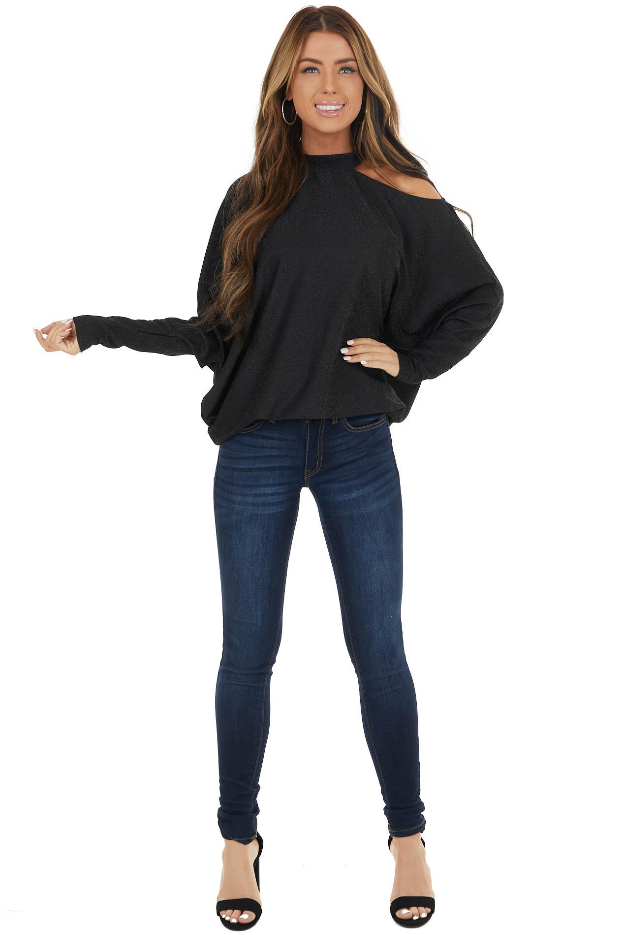 Black Sparkly Dolman Sleeve Top with Shoulder Cutout