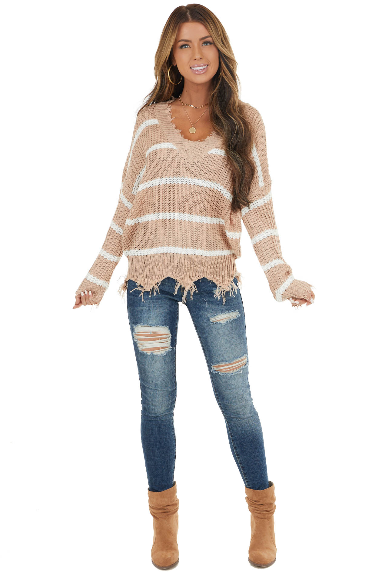Beige and White Striped Loose Knit Lightweight Sweater