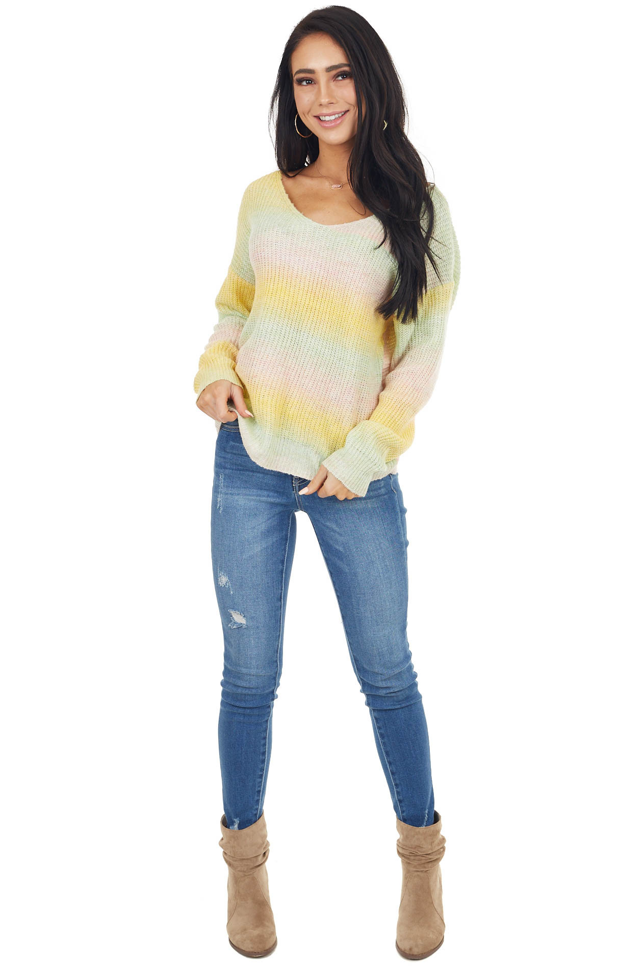 Yellow Multicolor Lightweight Sweater with Twist Back Detail