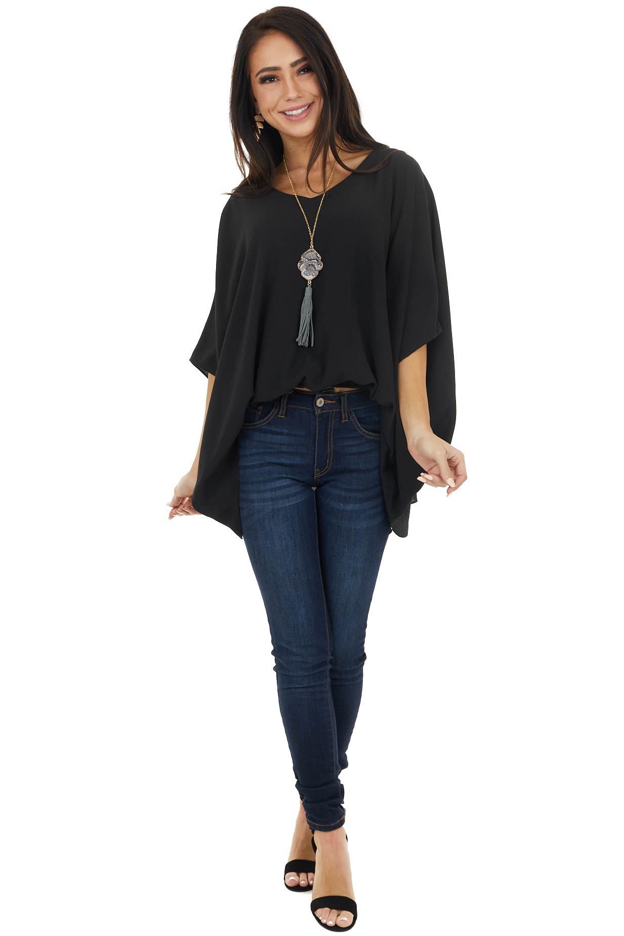 Black V Neck Short Dolman Sleeve Blouse with Elastic Waist