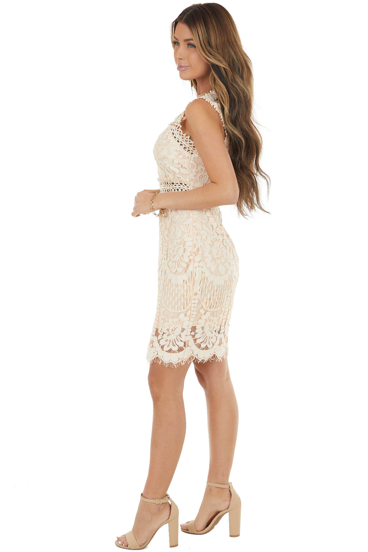 Peach Lace High Neckline Bodycon Dress with Sheer Details