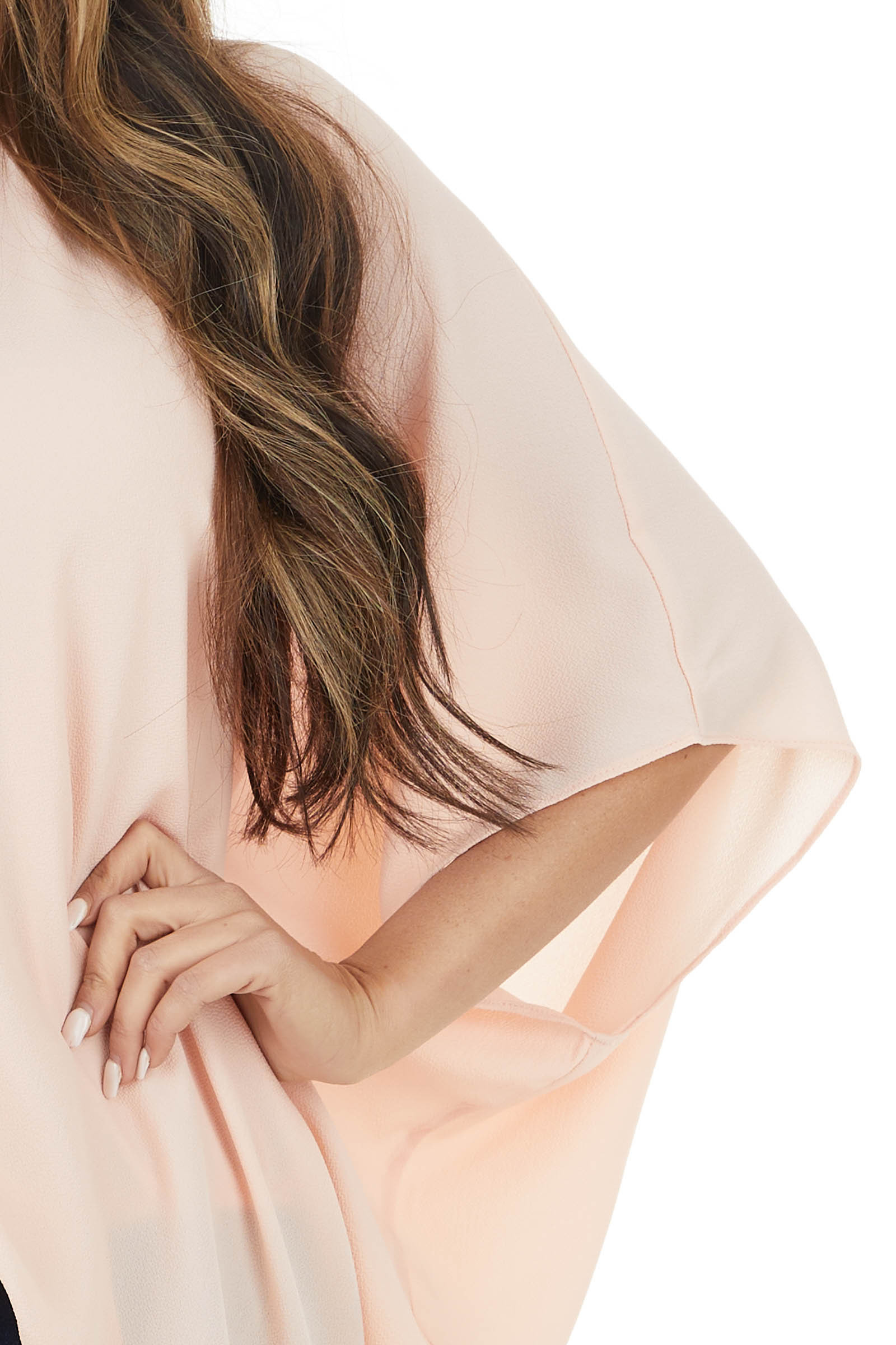 Blush One Shoulder Flowy Sleeve Blouse with Elastic Waist