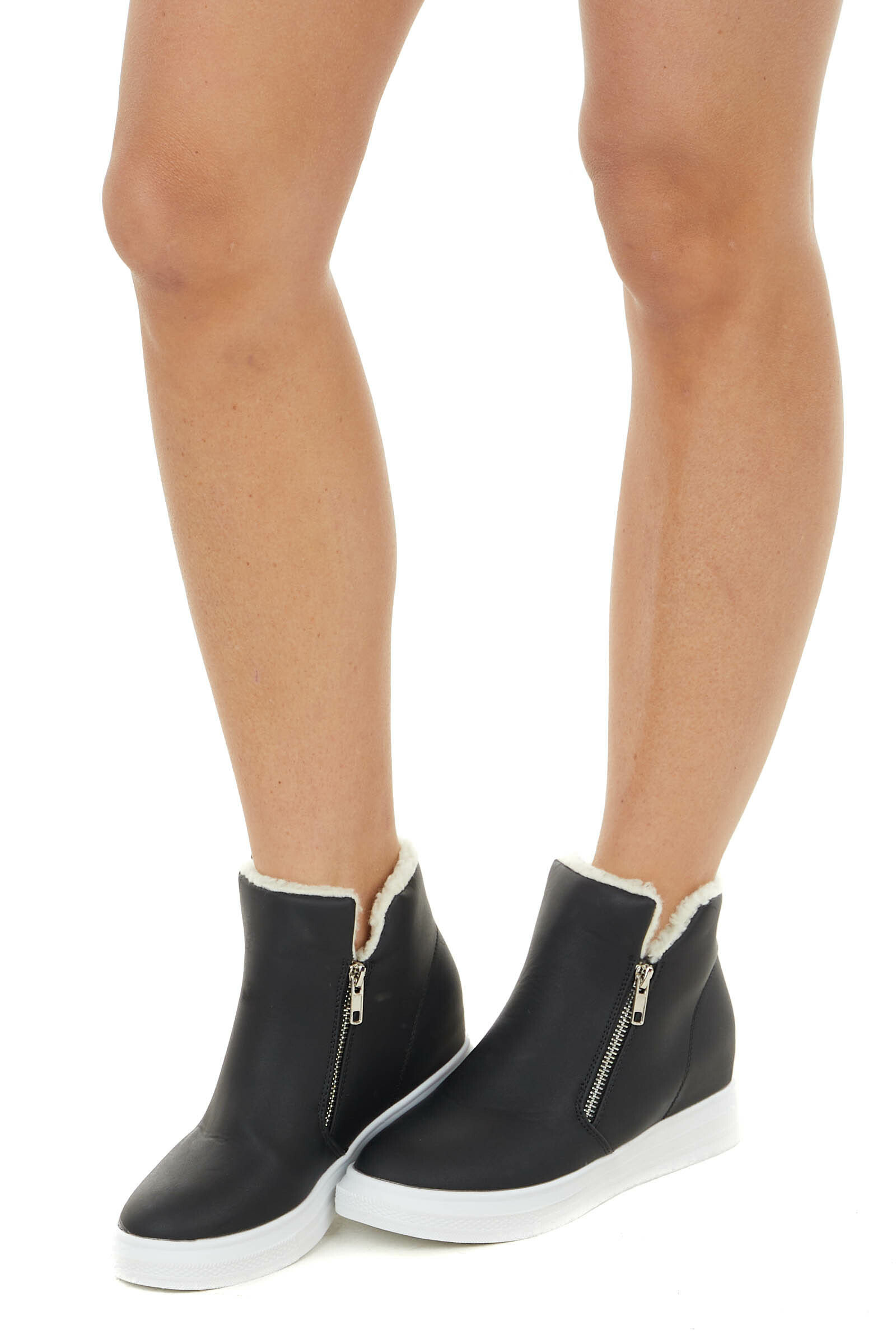 Black Faux Leather Wedge Sneakers with Faux Wool Trim
