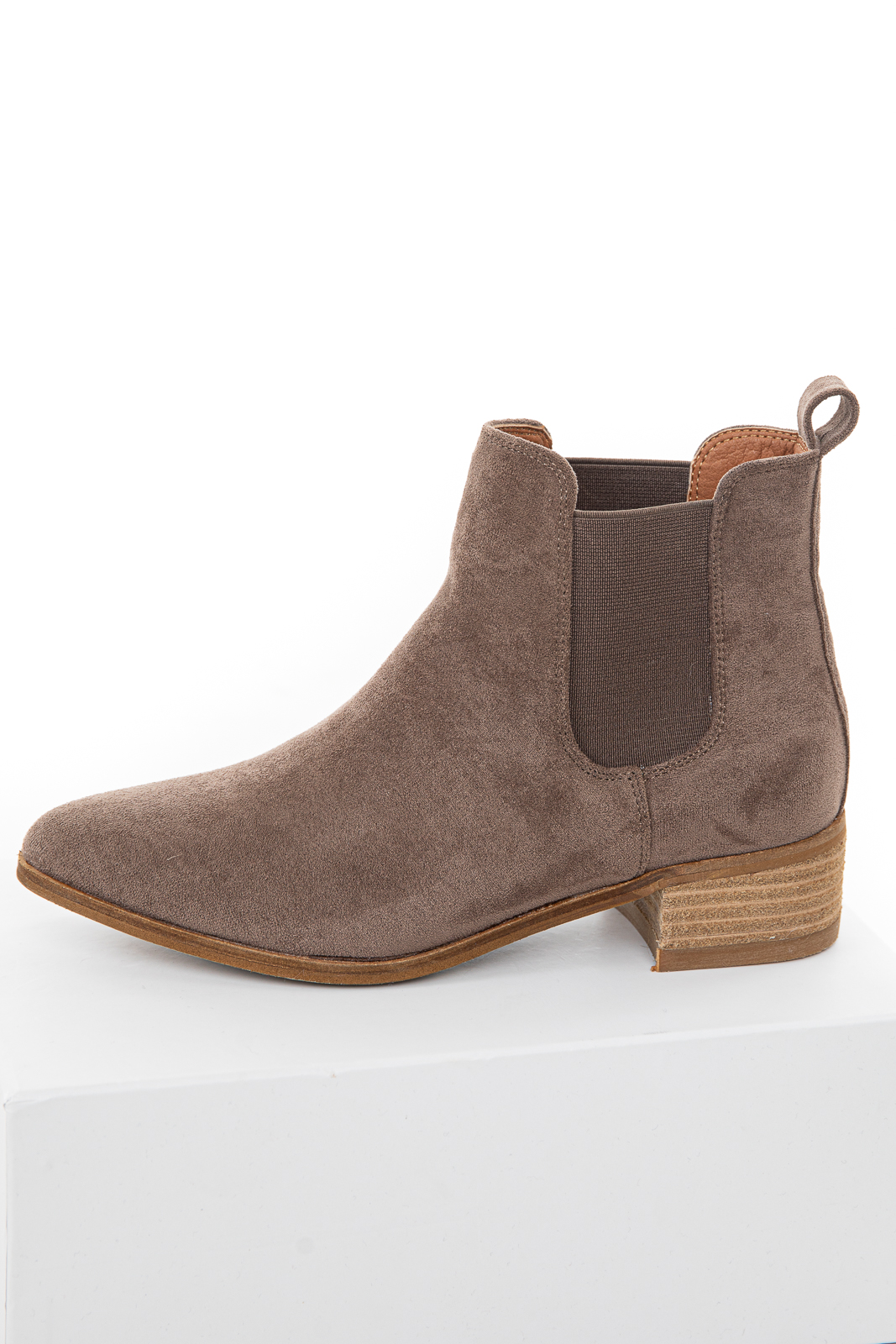 Cocoa Faux Suede Elastic Slip On Booties with Eyelet Details
