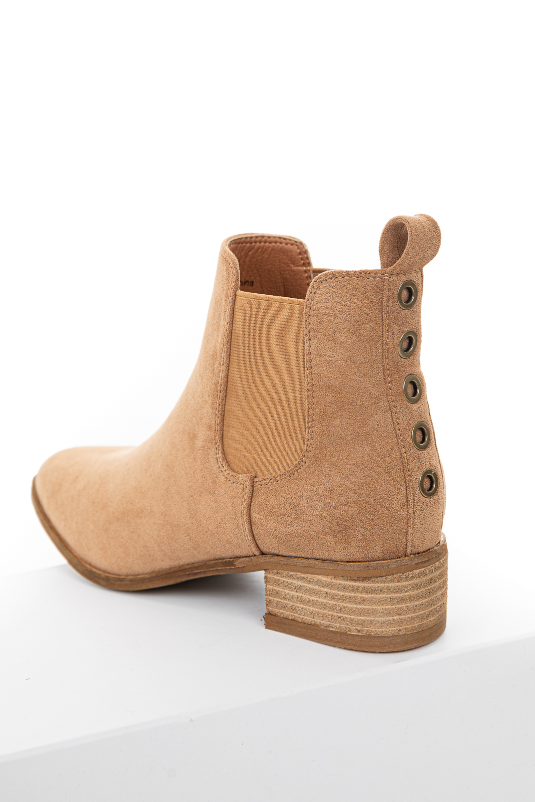 Camel Faux Suede Elastic Slip On Booties with Eyelet Details