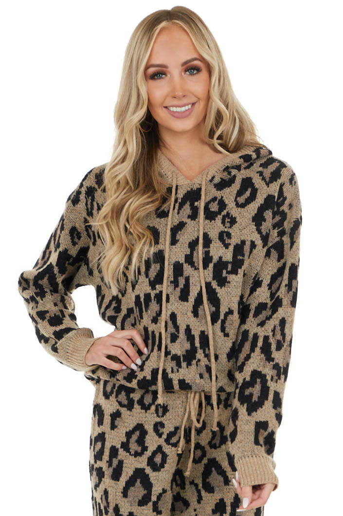 Latte Leopard Print Long Sleeve Hoodie with Drawstrings