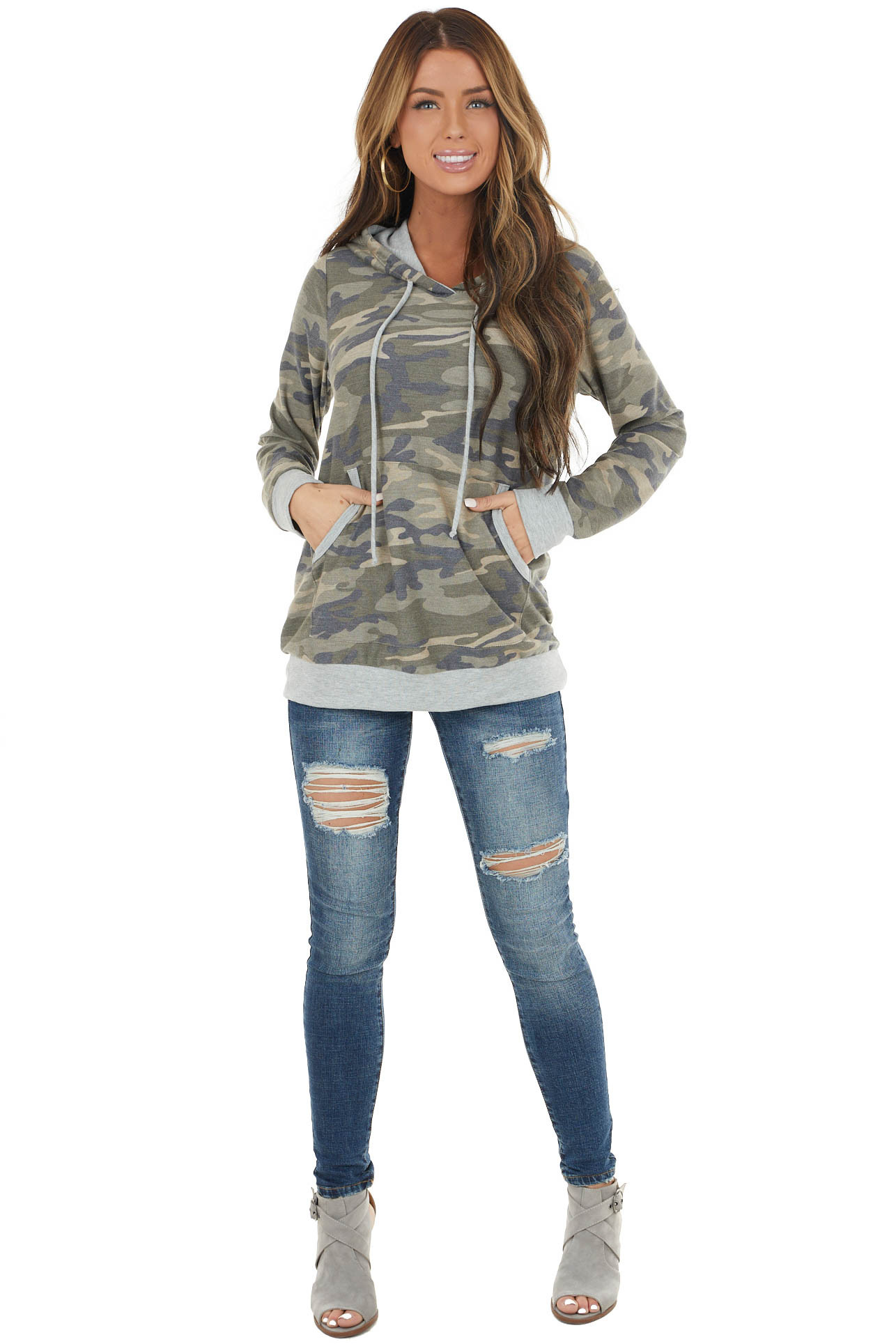 Olive Camo Print French Terry Hoodie with Kangaroo Pouch