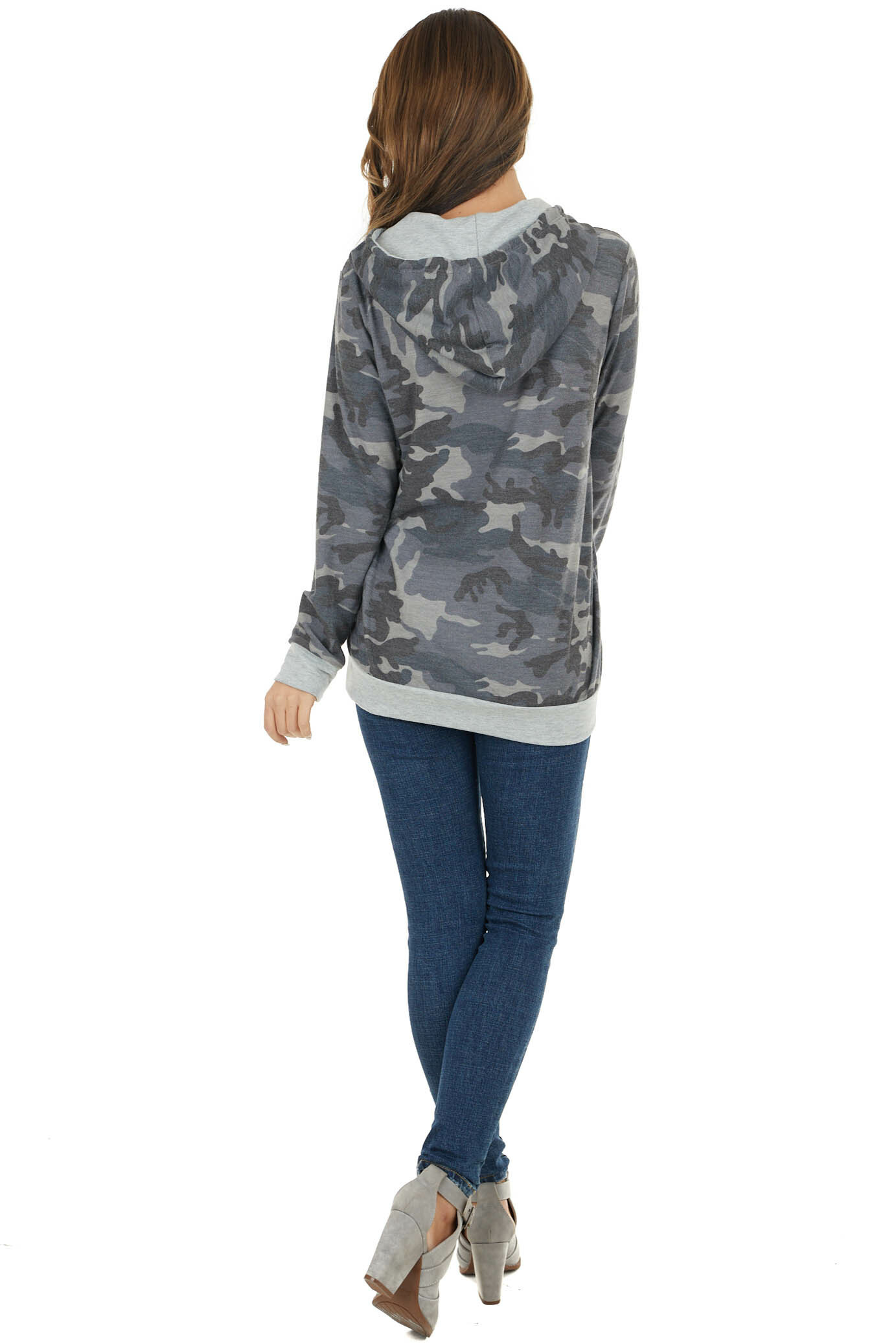 Slate Camo Print French Terry Hoodie with Kangaroo Pouch