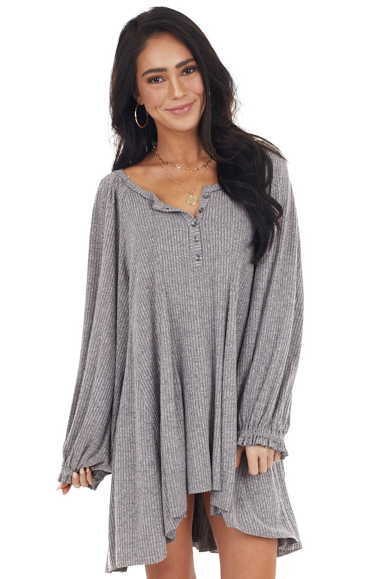 Heather Grey Bubble Sleeve Henley Ribbed Knit Mini Dress