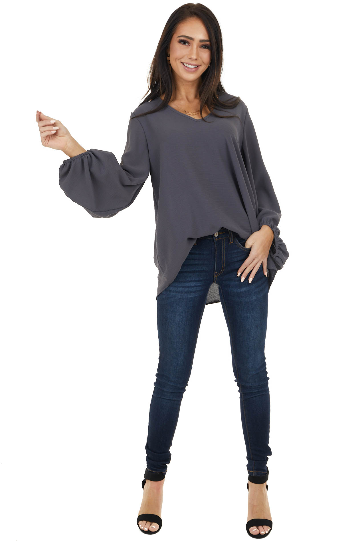 Stormy Grey Loose Fit V Neck Top with Draped Bubble Sleeves