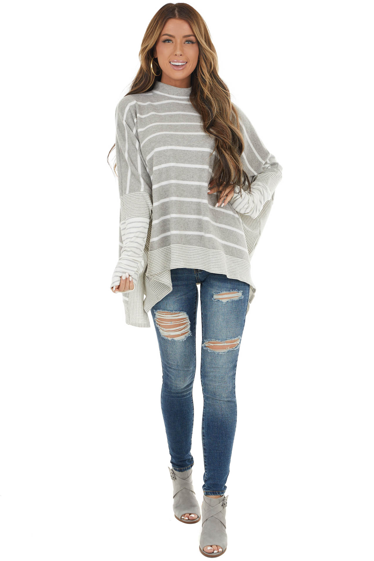 Heather Grey Striped Oversized Knit Top with High Neckline