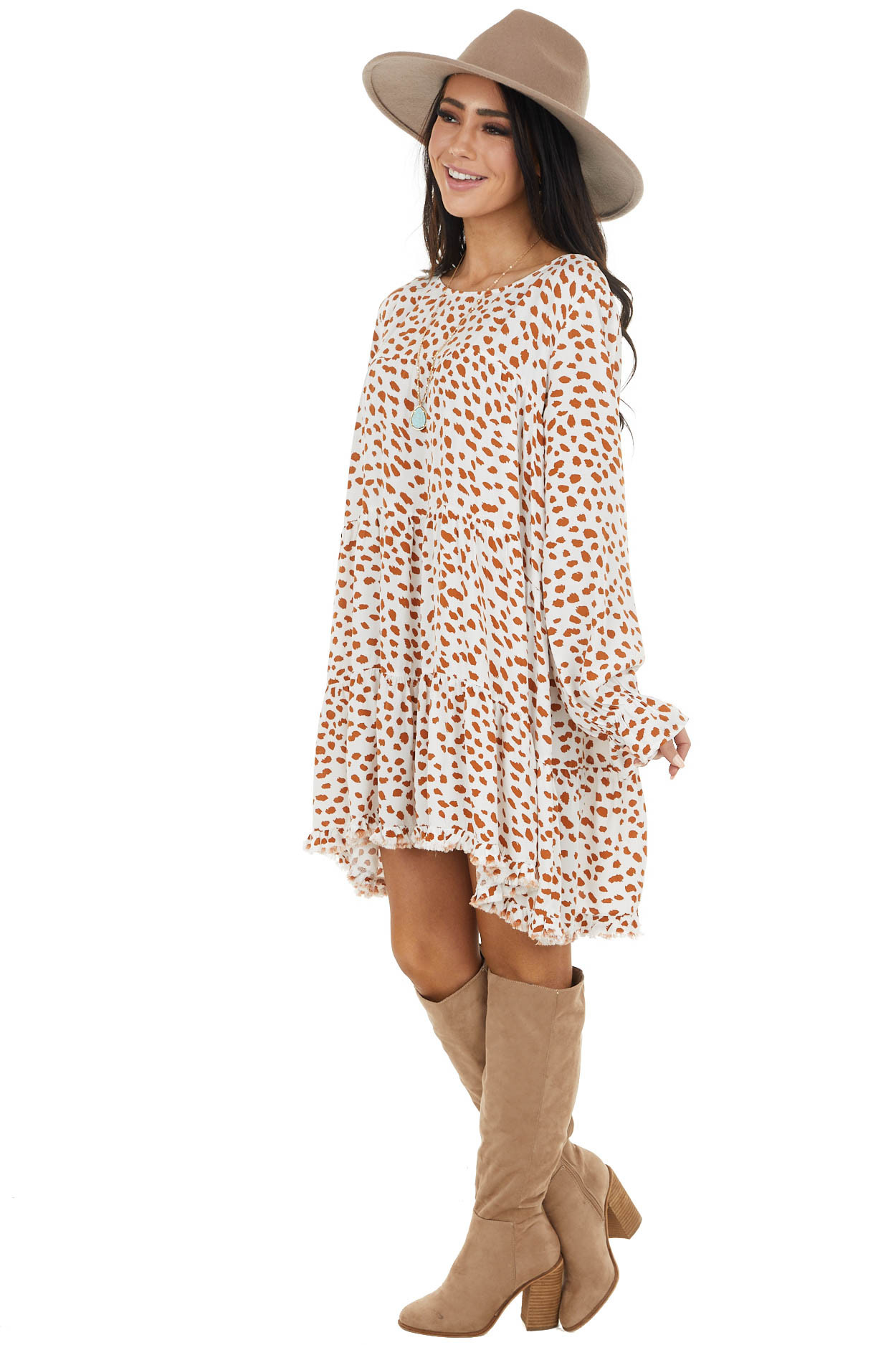 White and Caramel Cheetah Print Tiered Dress with Frayed Hem