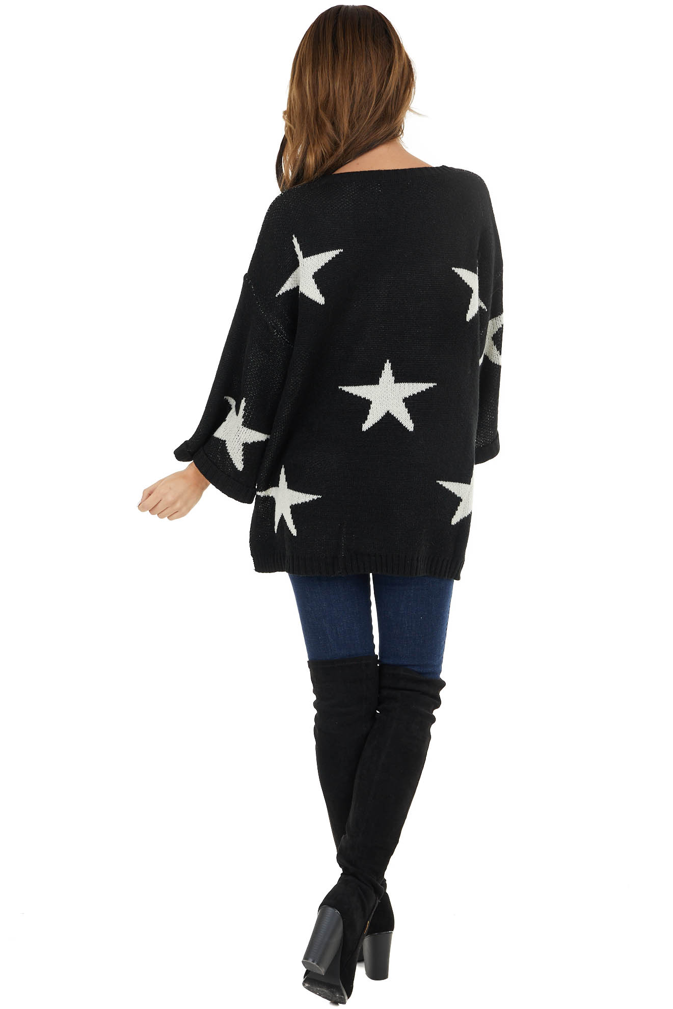 Black Star Print 3/4 Wide Sleeve Sweater with Side Slits