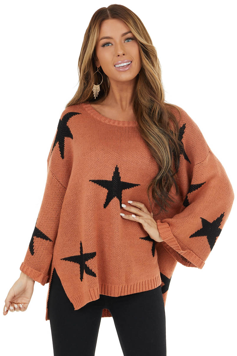 Ginger Star Print 3/4 Wide Sleeve Sweater with Side Slits