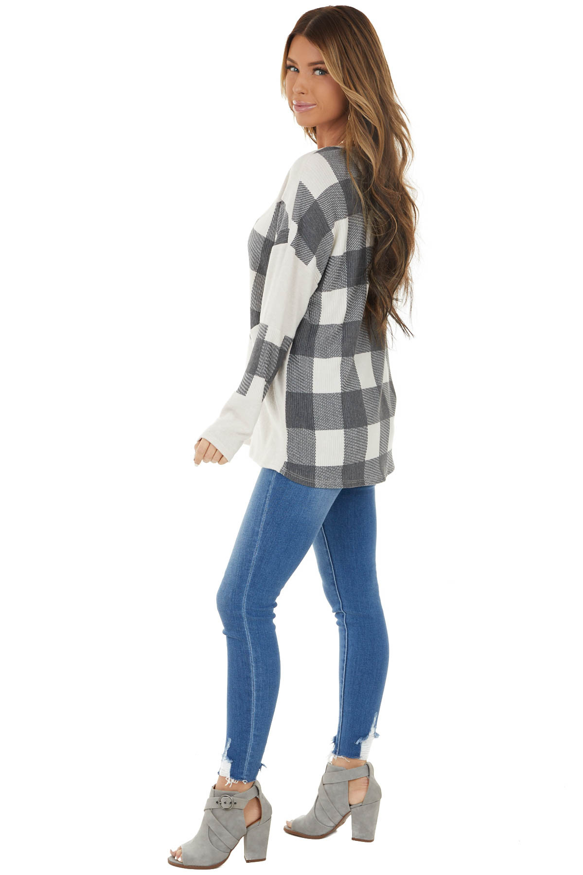 Ivory Buffalo Plaid Long Sleeve Knit Top with Chevron Print