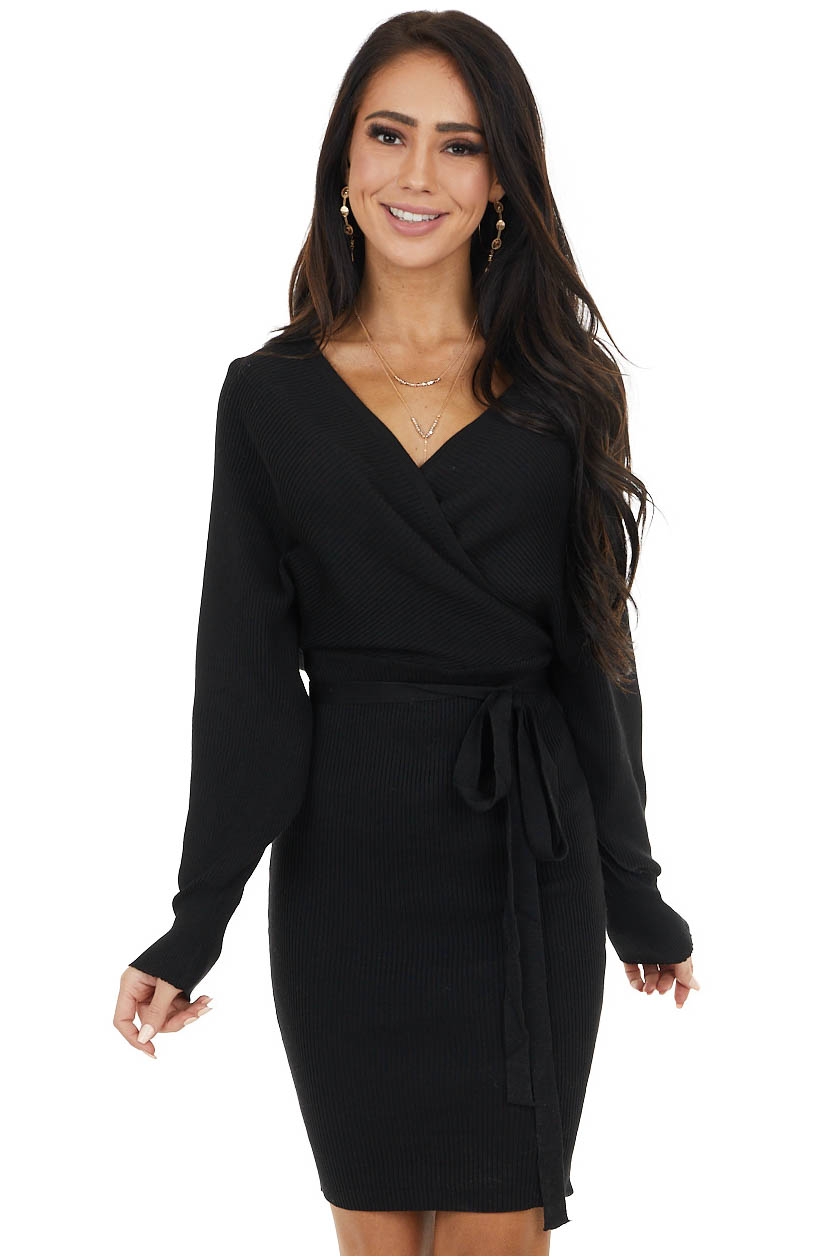 Black Ribbed Knit Dolman Sleeve Short Dress with Tie Detail