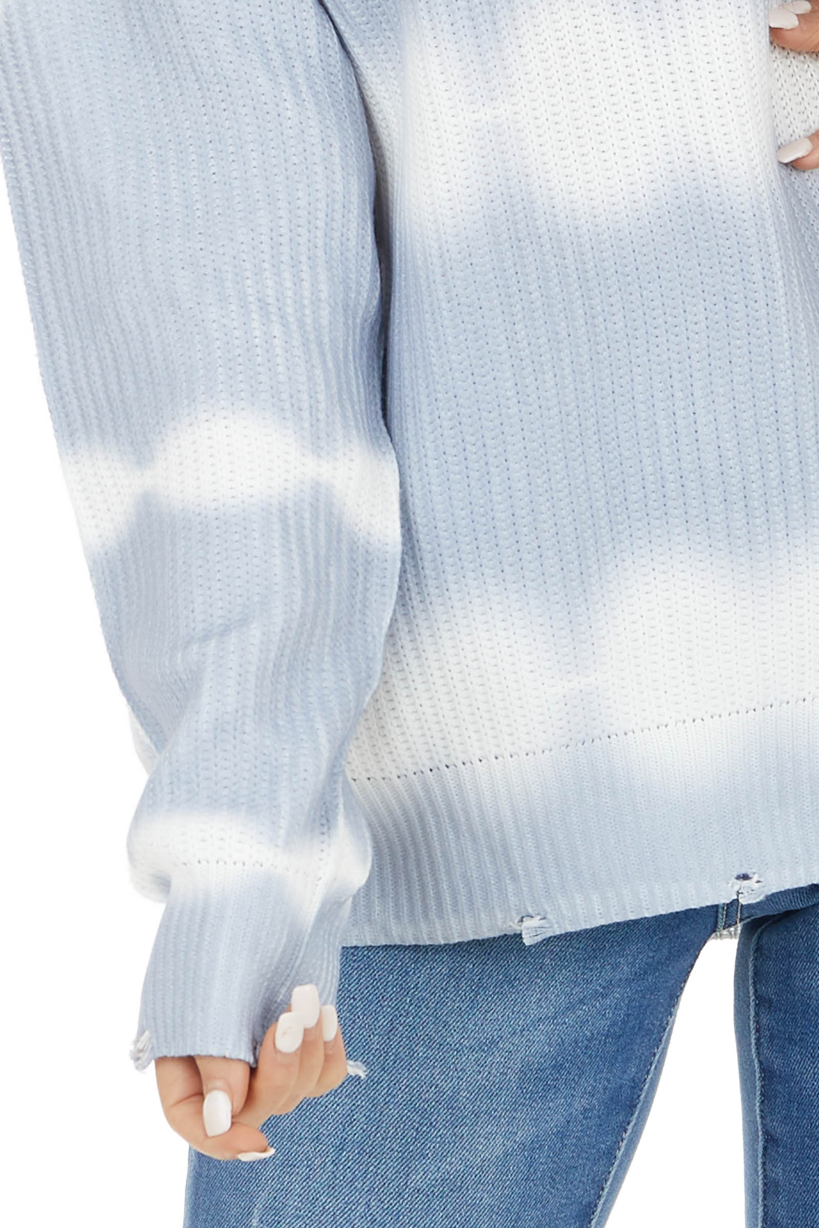 Sky Blue Tie Dye Knit Sweater with Distressed Detail