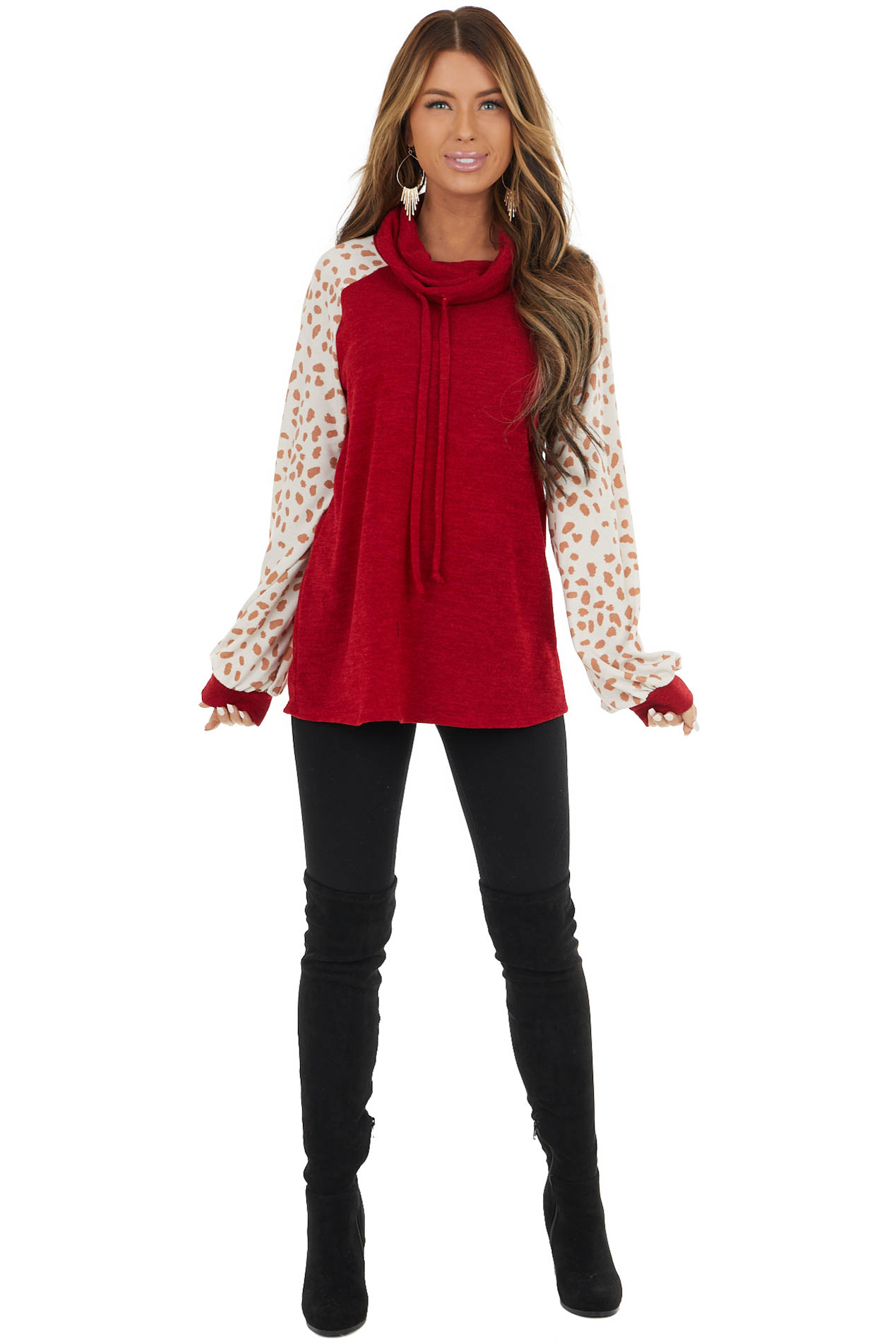 Cherry Drawstring Cowl Neck Top with Cheetah Print Sleeves