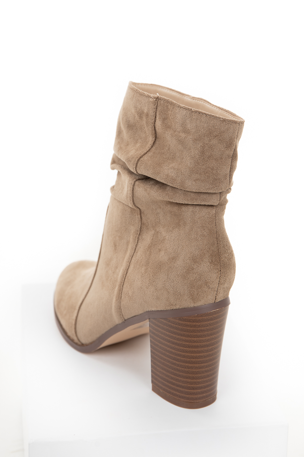 Khaki Faux Suede High Heel Bootie with Gathered Detail