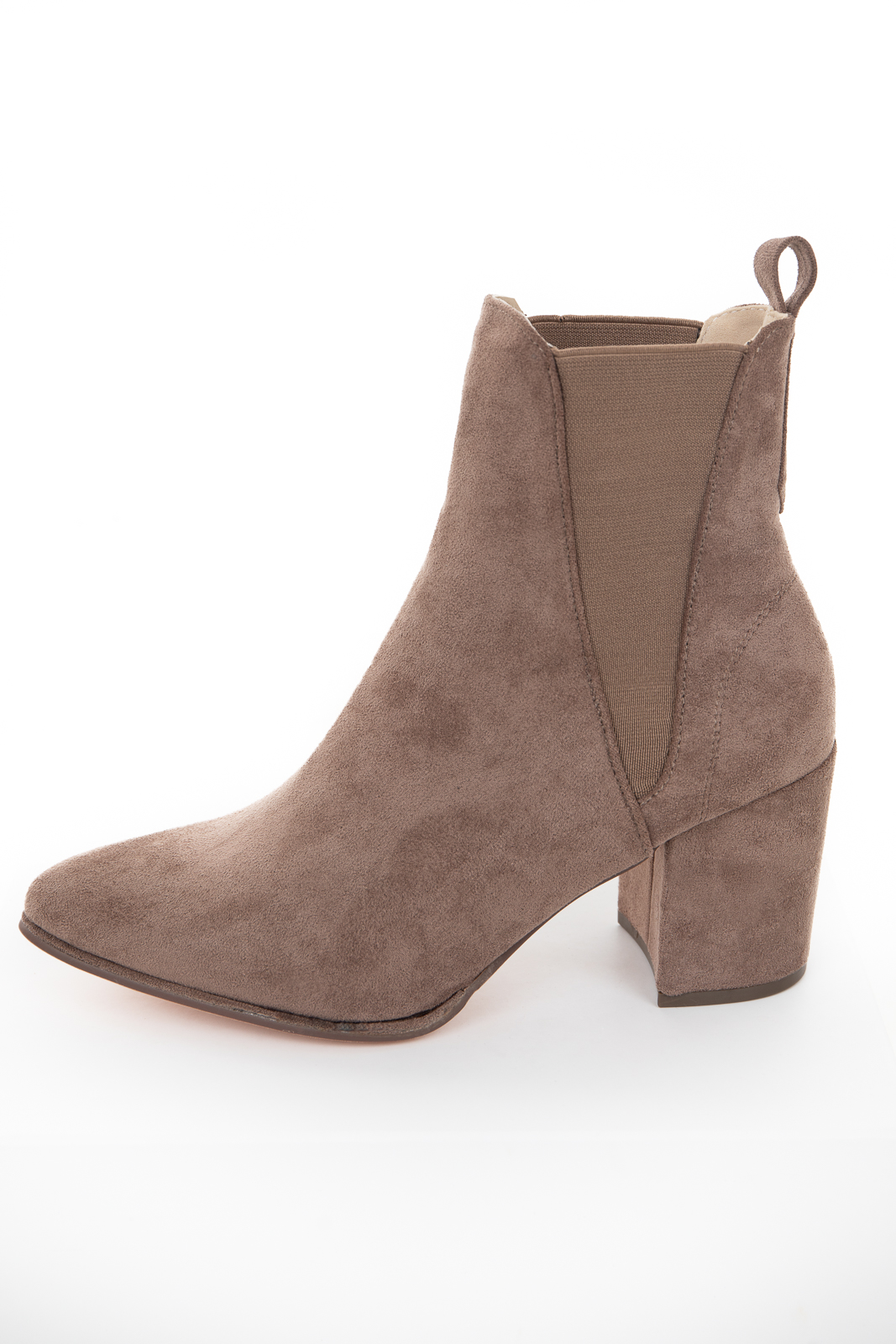 Taupe Faux Suede Elastic Pointed Toe Booties with Block Heel