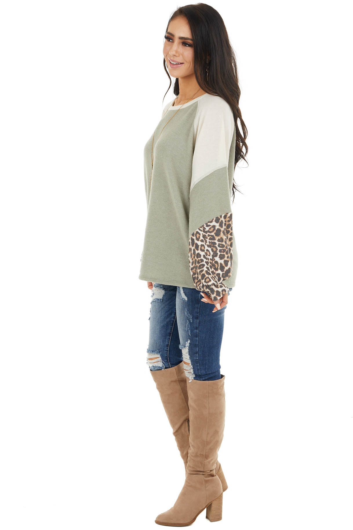 Sage and Cream Colorblock Top with Leopard Print Details