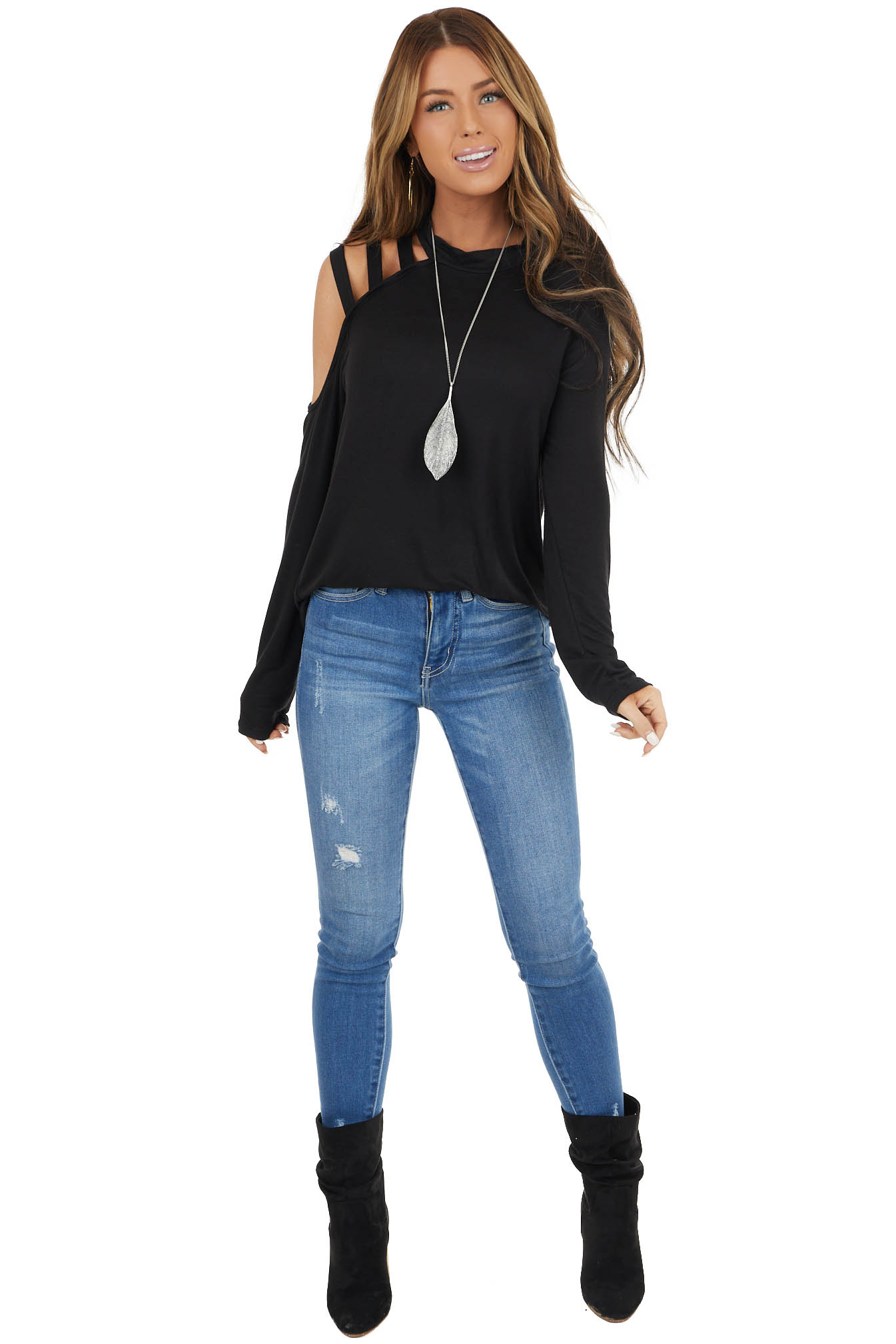 Black Long Sleeve Knit Top with One Caged Cold Shoulder