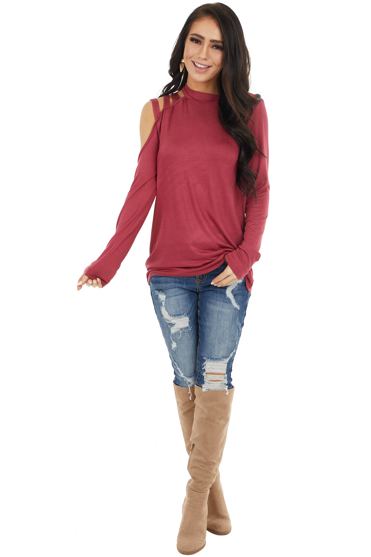 Marsala Long Sleeve Knit Top with One Caged Cold Shoulder