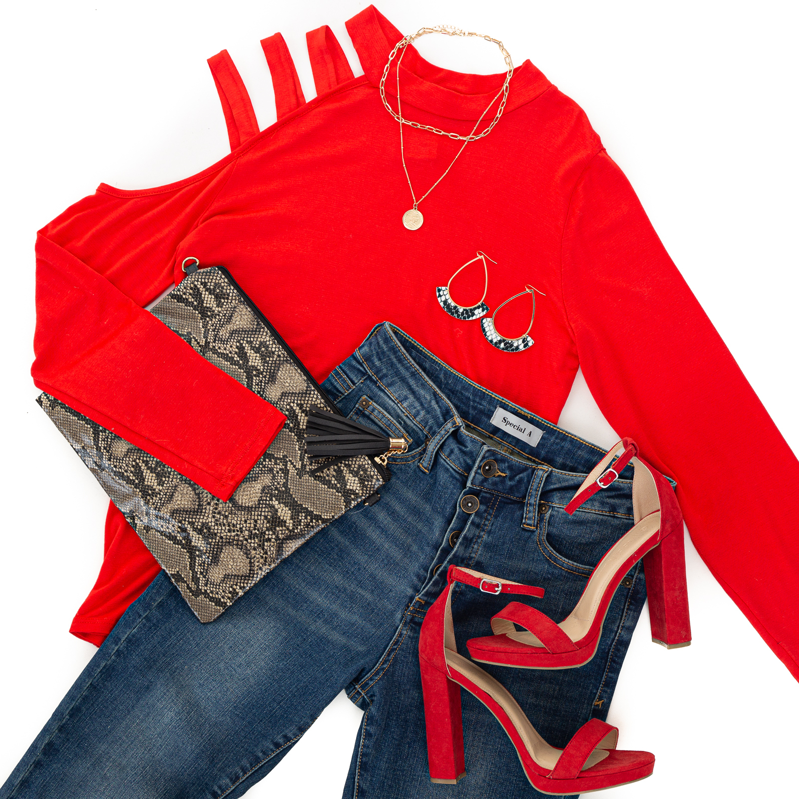 Lipstick Long Sleeve Knit Top with One Caged Cold Shoulder