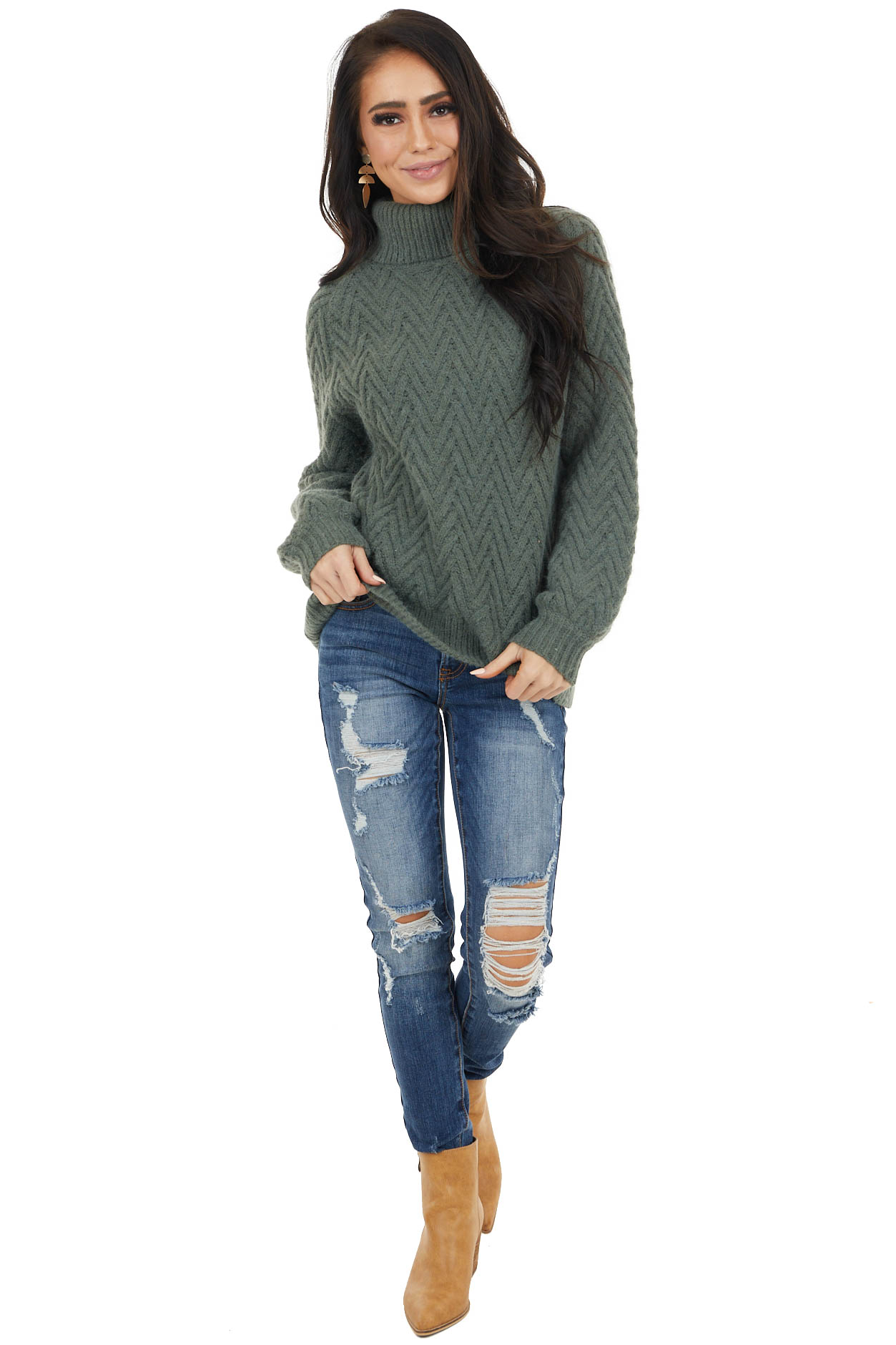 Faded Olive Chevron Textured Sweater with Turtleneck