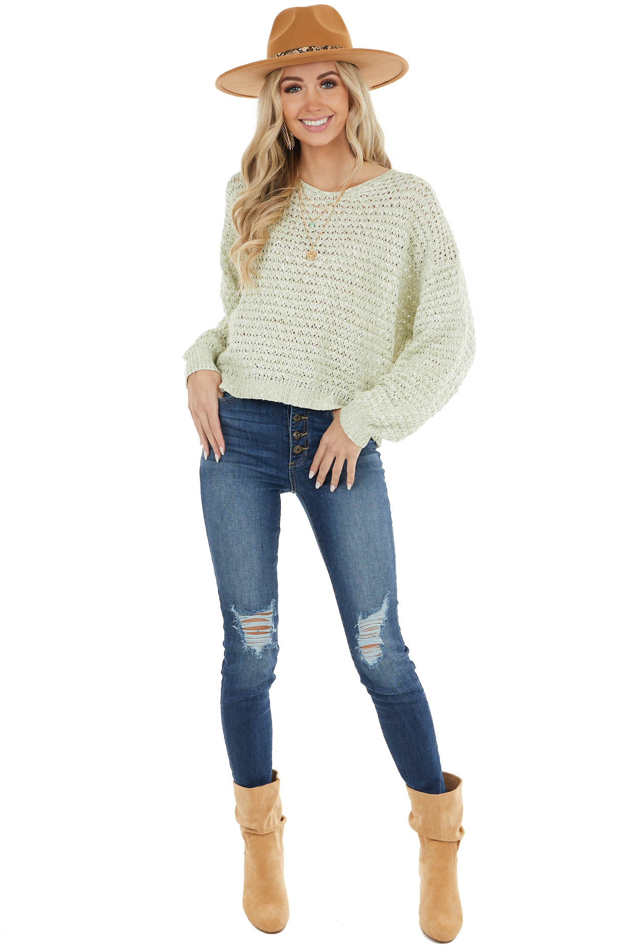 Pistachio Two Tone Loose Knit Sweater with Bubble Sleeves