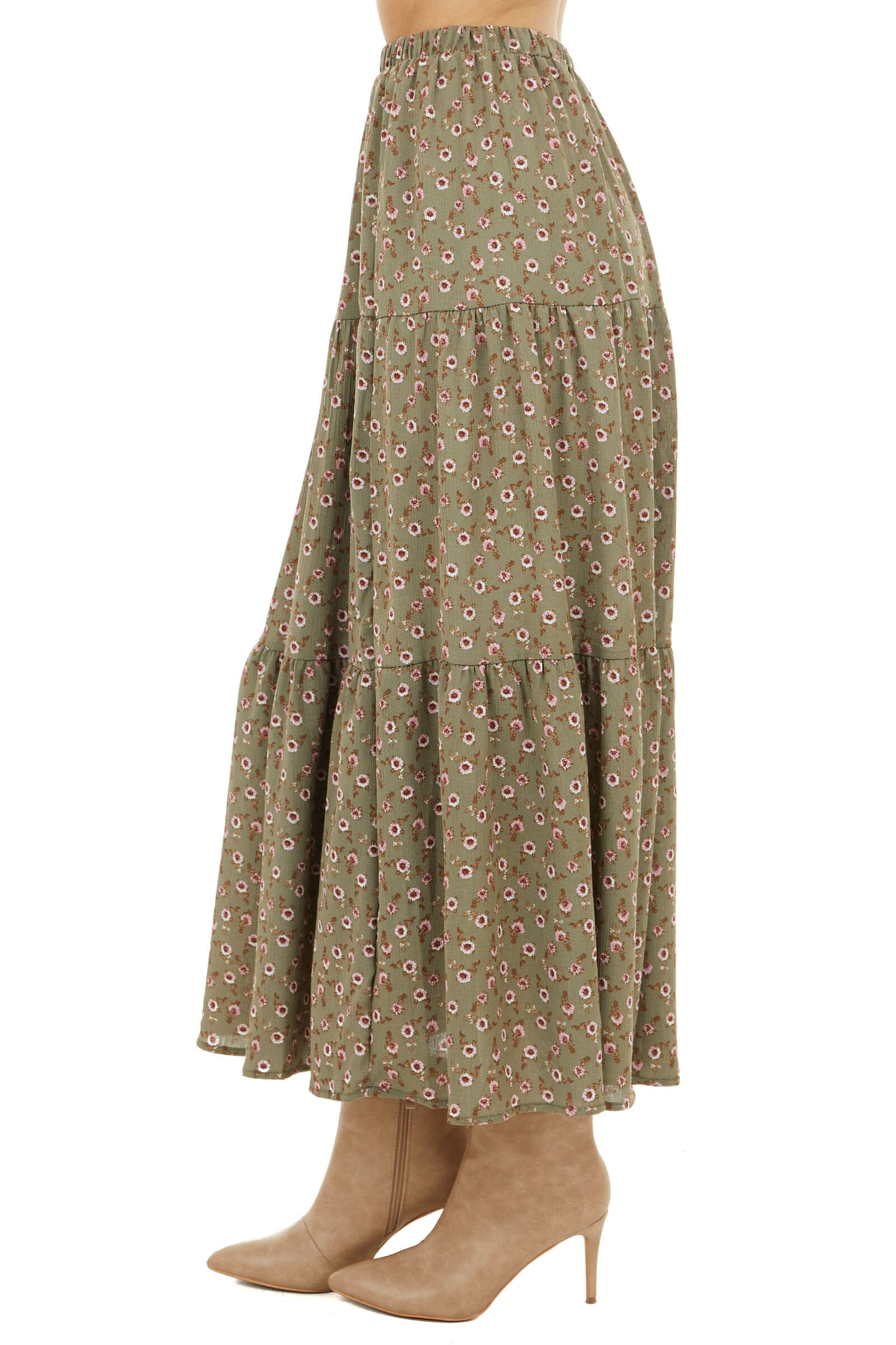 Faded Olive Floral Print Tiered Elastic Waist Maxi Skirt