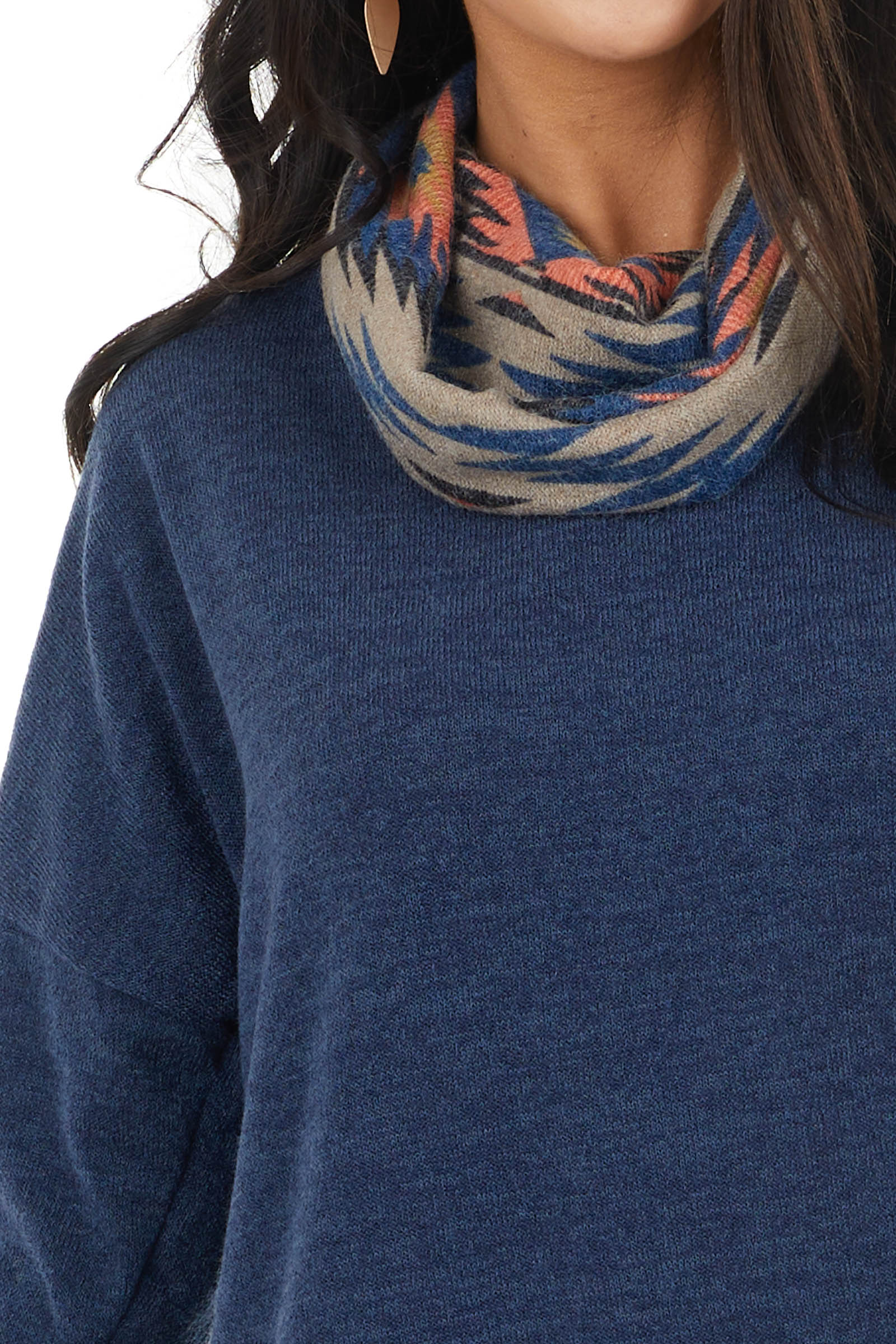 Stormy Blue Two Tone Knit Top with Aztec Print Cowl Neck