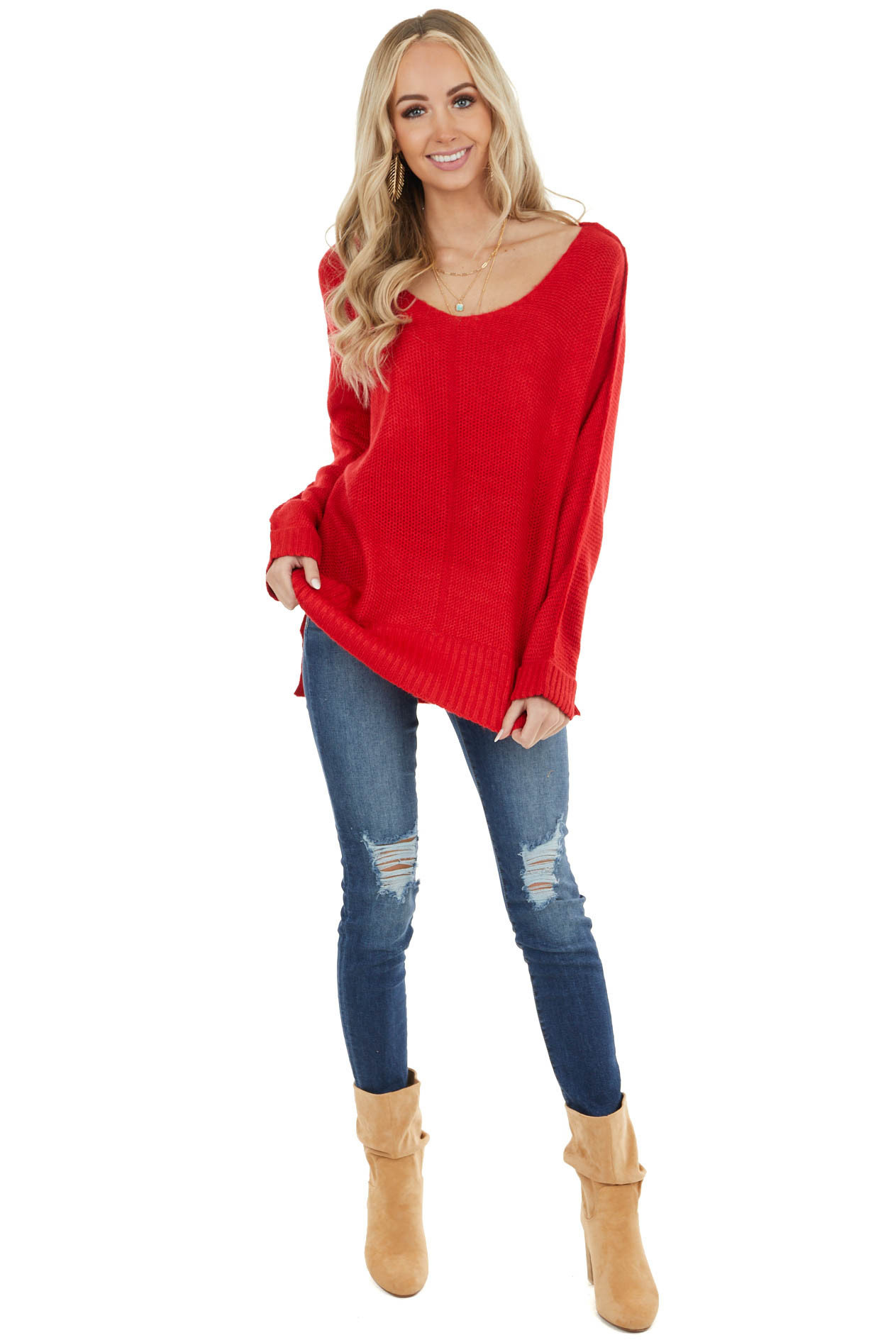 Cherry Long Sleeve Lightweight Sweater with V Neckline