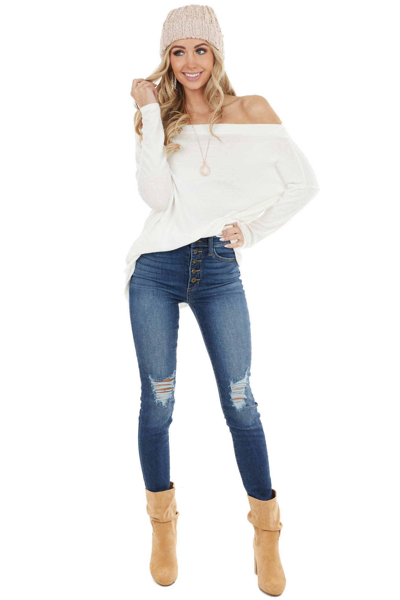 Ivory Off the Shoulder Long Sleeve Soft Knit Top