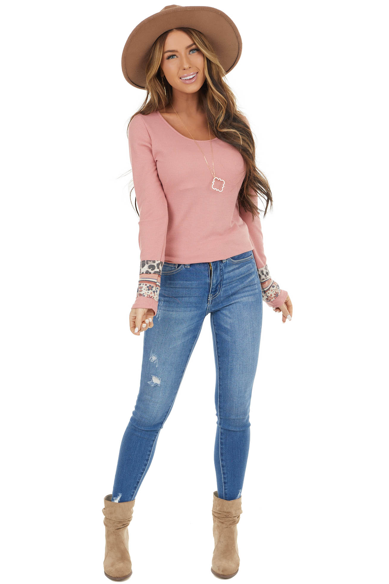 Dusty Blush Waffle Knit Top with Multiprint Cuff