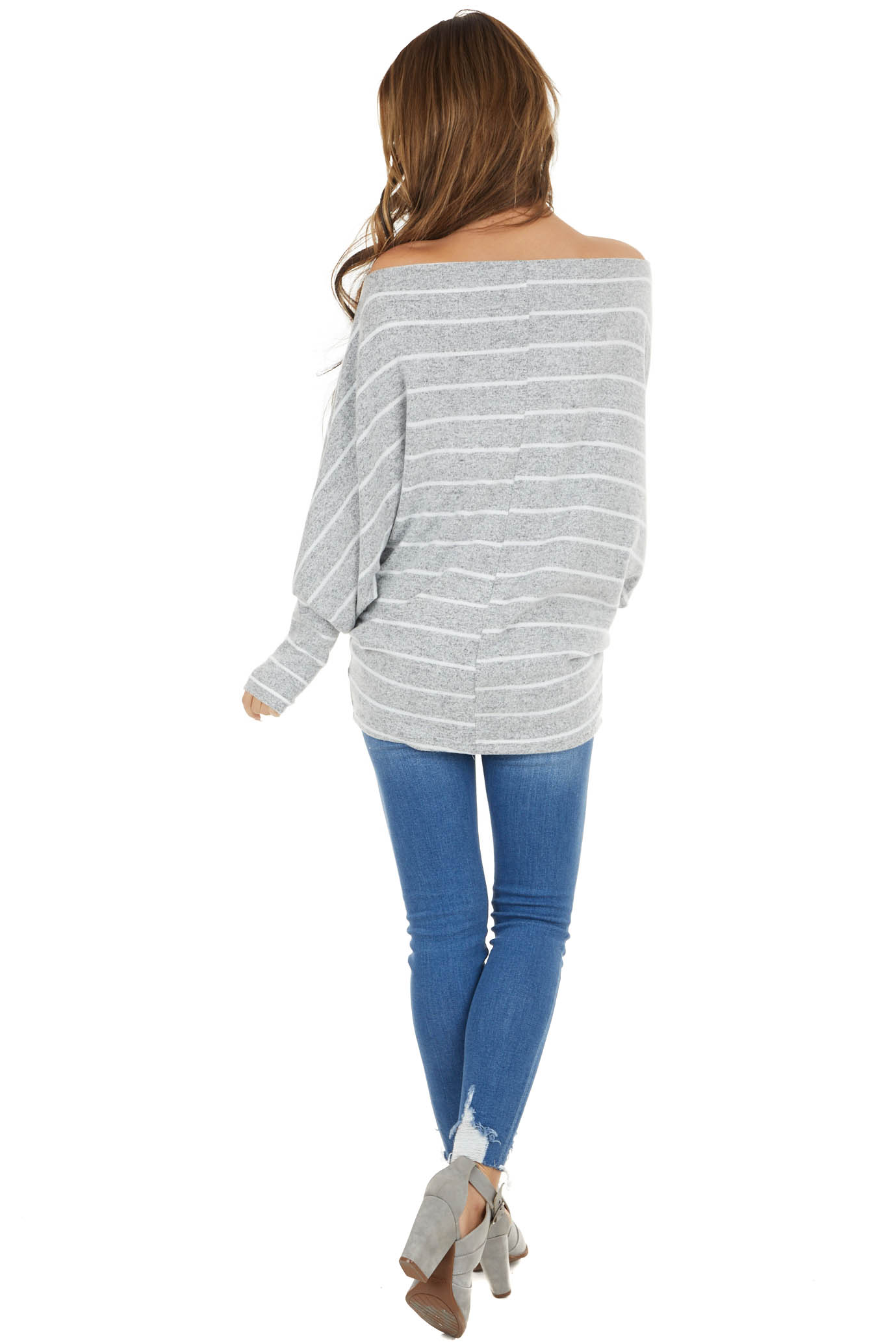 Heather Grey Striped Soft Knit Top with Long Dolman Sleeves
