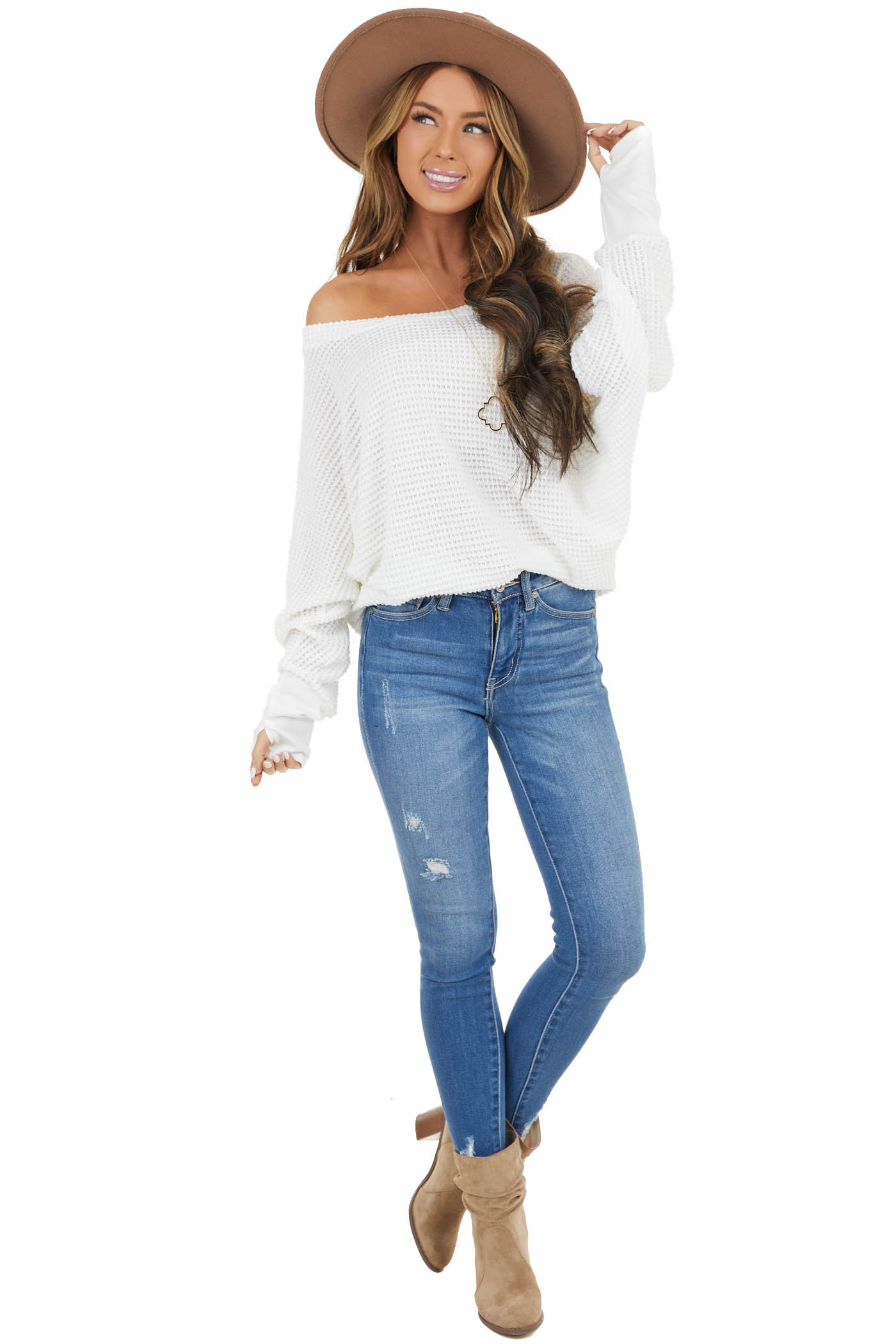 Ivory Waffle Knit Dolman Sleeve Top with Long Banded Cuffs