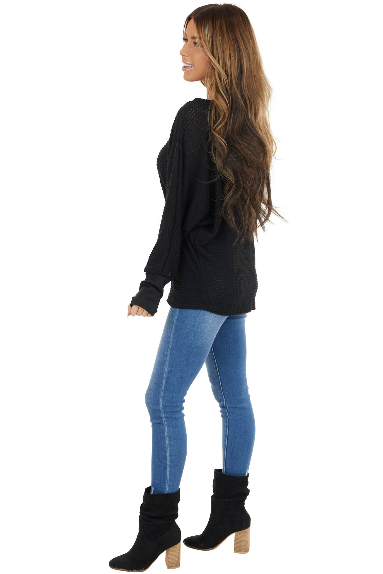 Black Waffle Knit Dolman Sleeve Top with Long Banded Cuffs