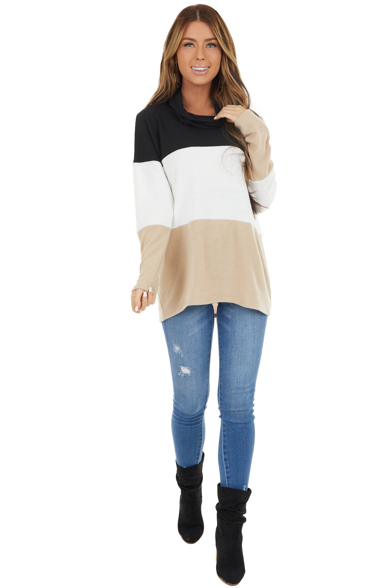 Black Colorblock Long Sleeve Soft Knit Top with Cowl Neckv