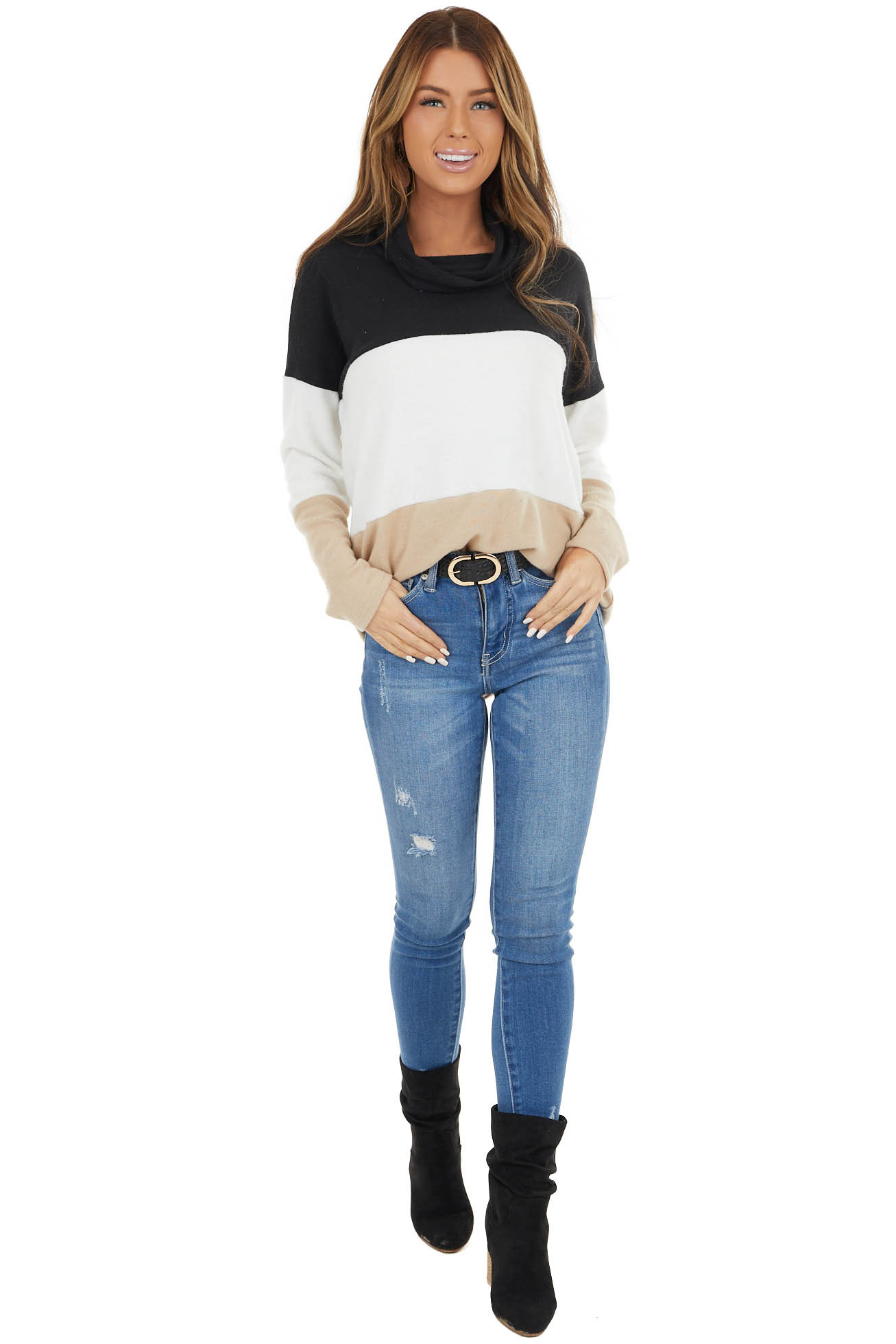 Black Colorblock Long Sleeve Soft Knit Top with Cowl Neck
