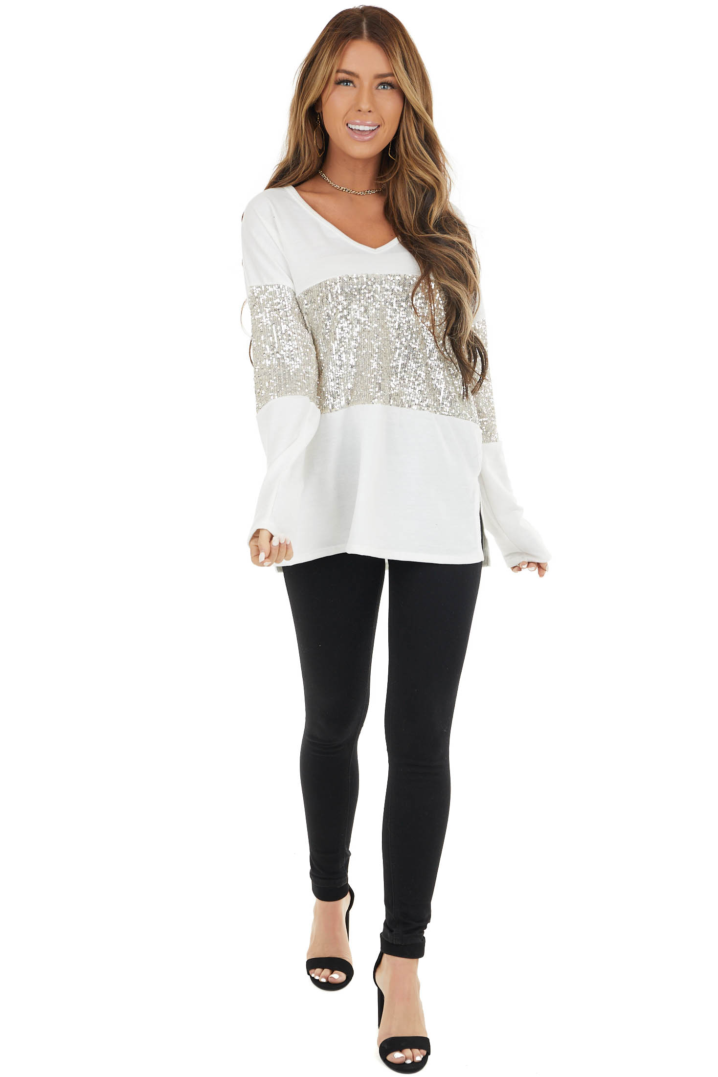 Ivory Sequined Colorblock Long Sleeve Top with Side Slits
