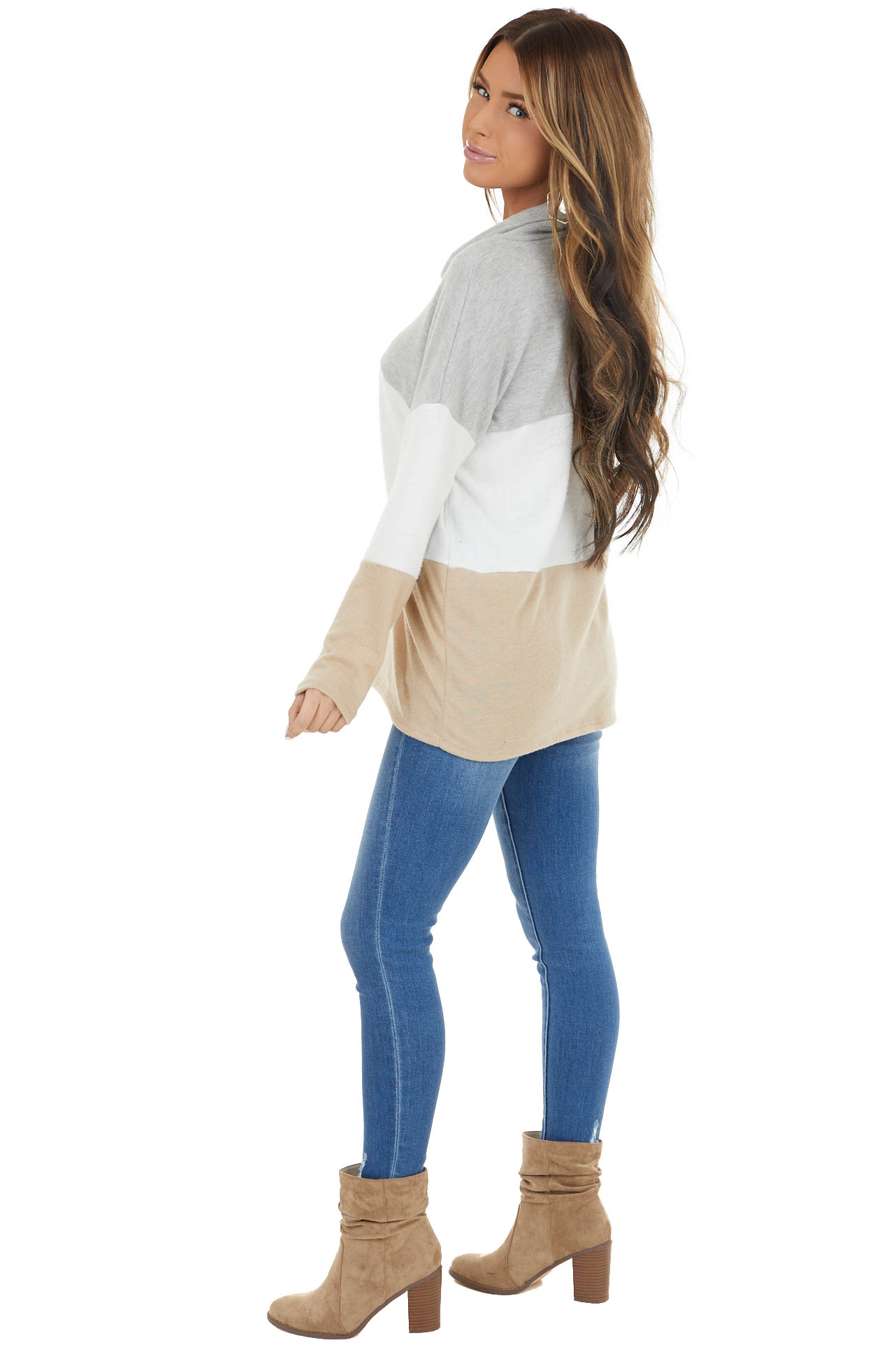 Heather Grey Colorblock Long Sleeve Knit Top with Cowl Neck